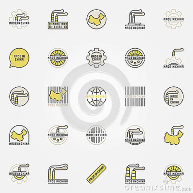 Made In China Colorful Icons Stock Vector Illustration Of Flat