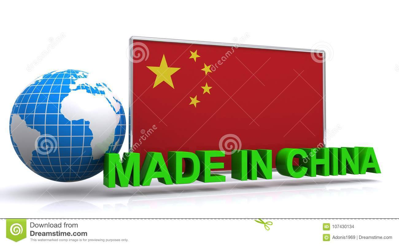 Made in China Graphic with flag and Earth