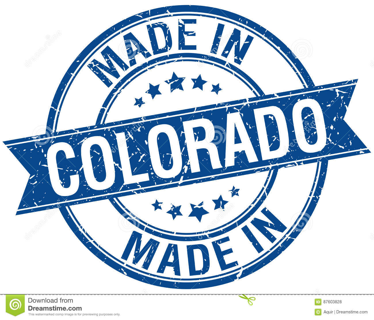 Made In Colorado Blue Round Stamp
