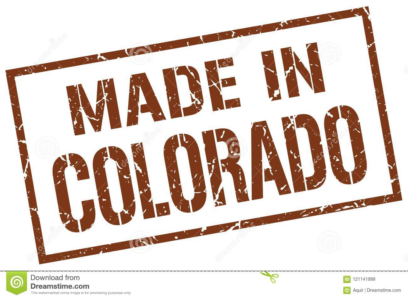 Made In Colorado Square Grunge Stamp Isolated On White Background