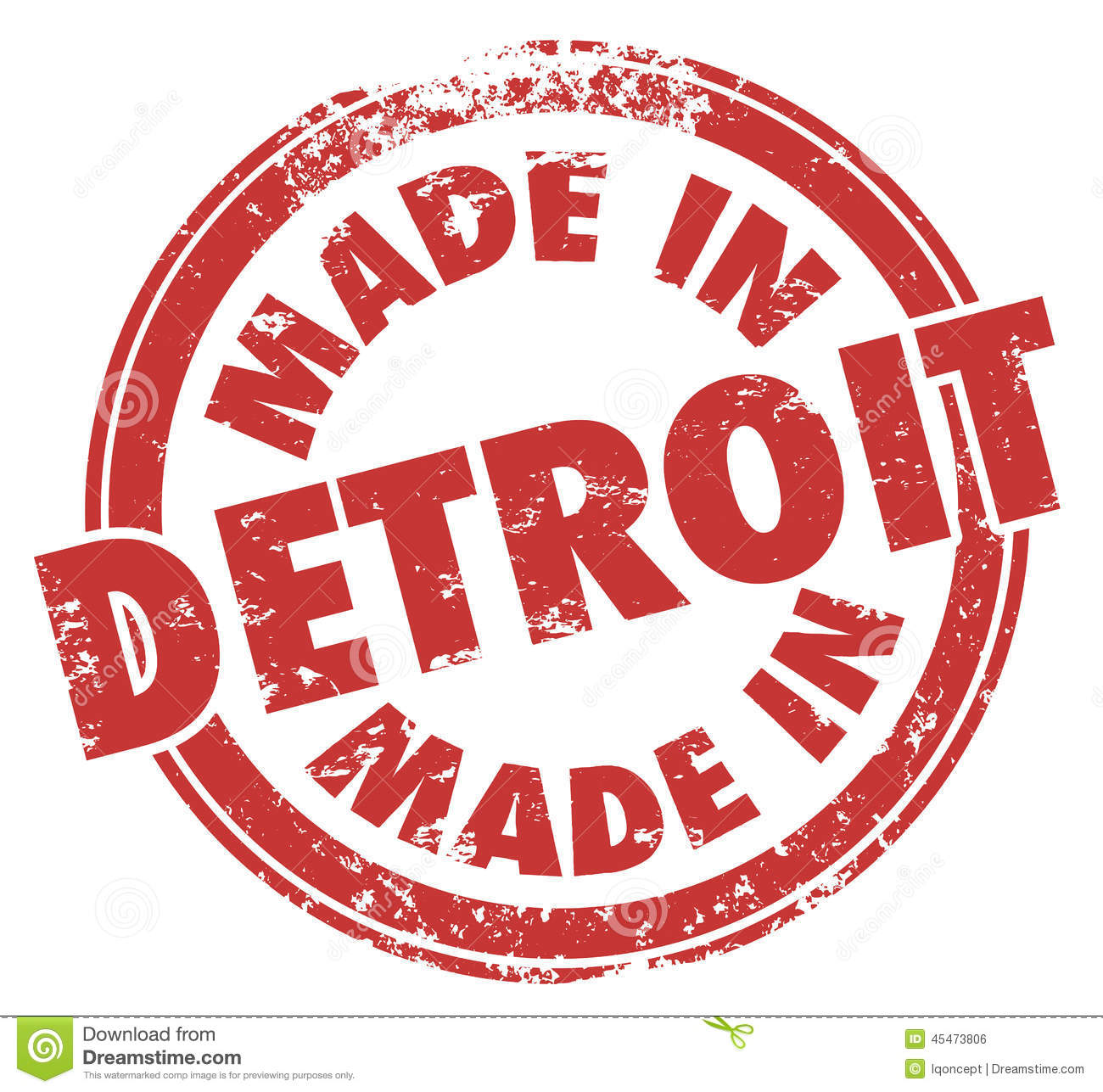 Made In Detroit Words Red Ink Stamp Grunge Badge Emblem