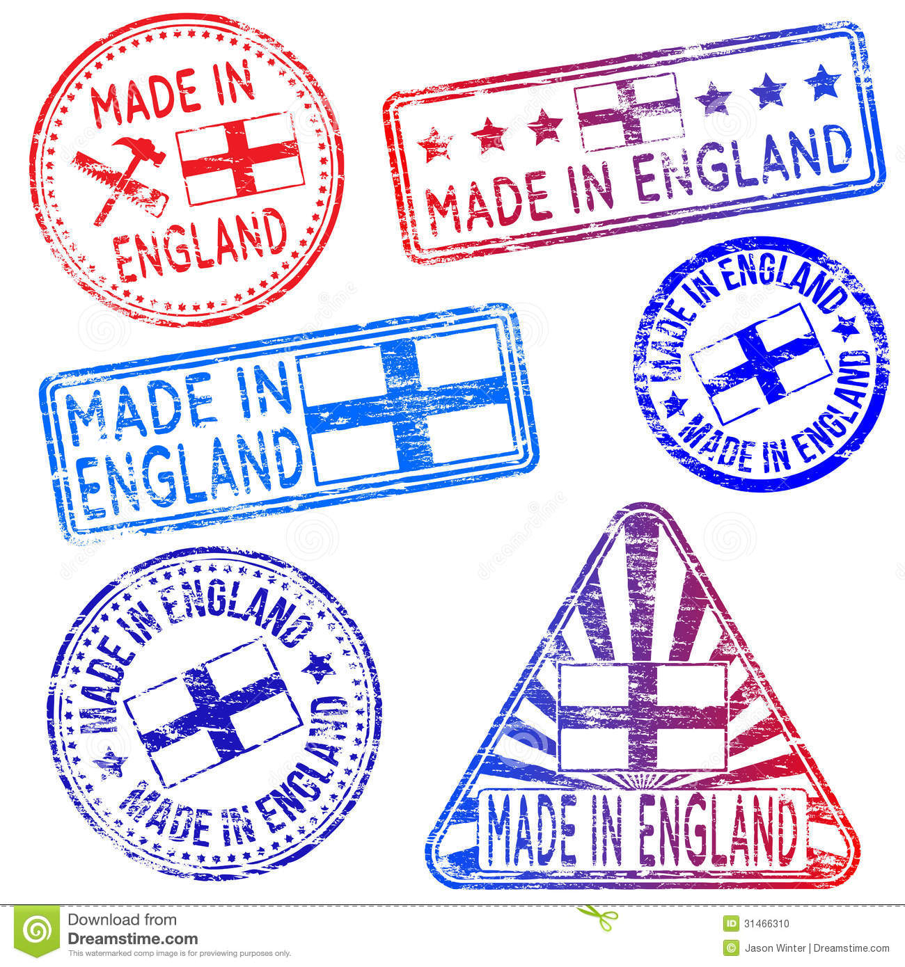 Made In England Stamps Stock Photo - Image: 31466310