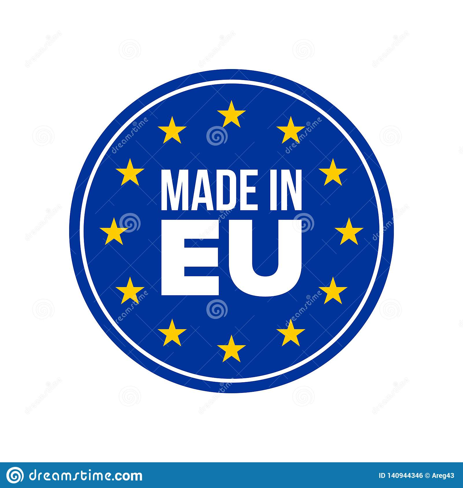 Made In EU Quality Certificate Label, Europe Flag Stars