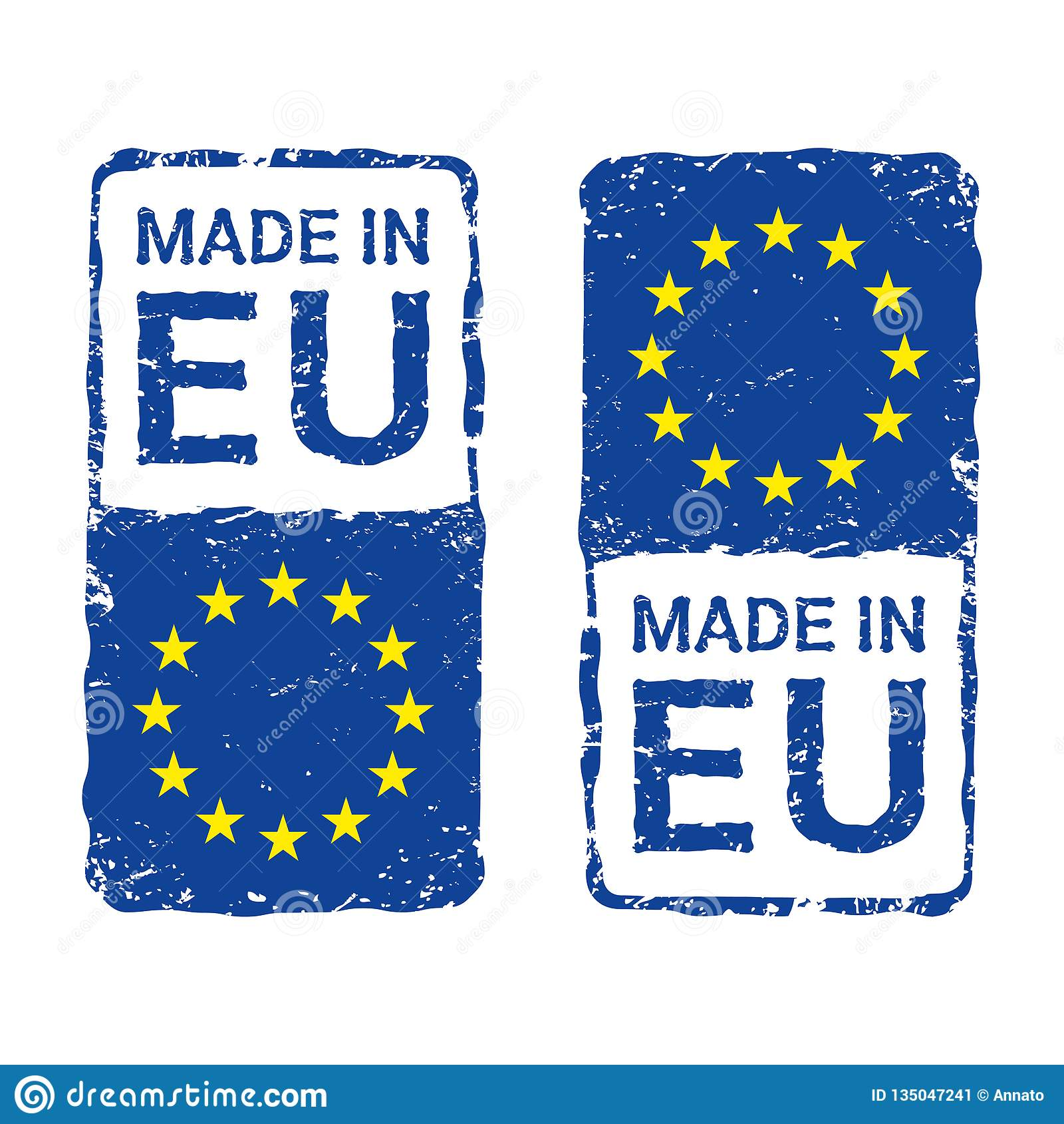 Made in European Union, EU vector letter stamp.