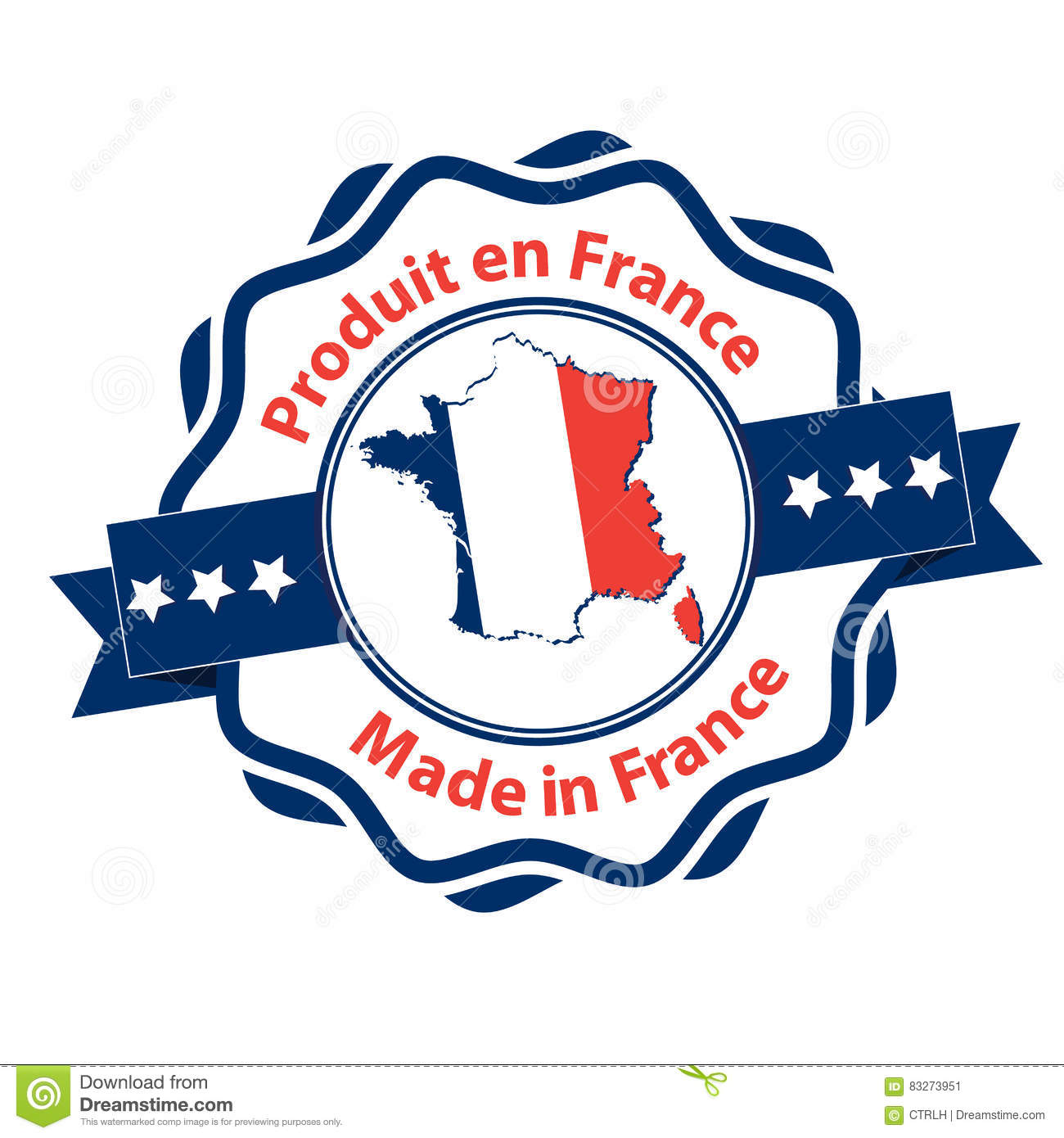 Map Of France In French Language.Made In France French Language Stock Vector Illustration Of