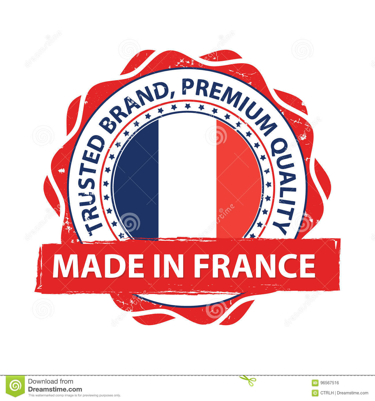 graphic regarding Printable French Flag known as Designed Inside France Grunge Printable Label. Inventory Vector