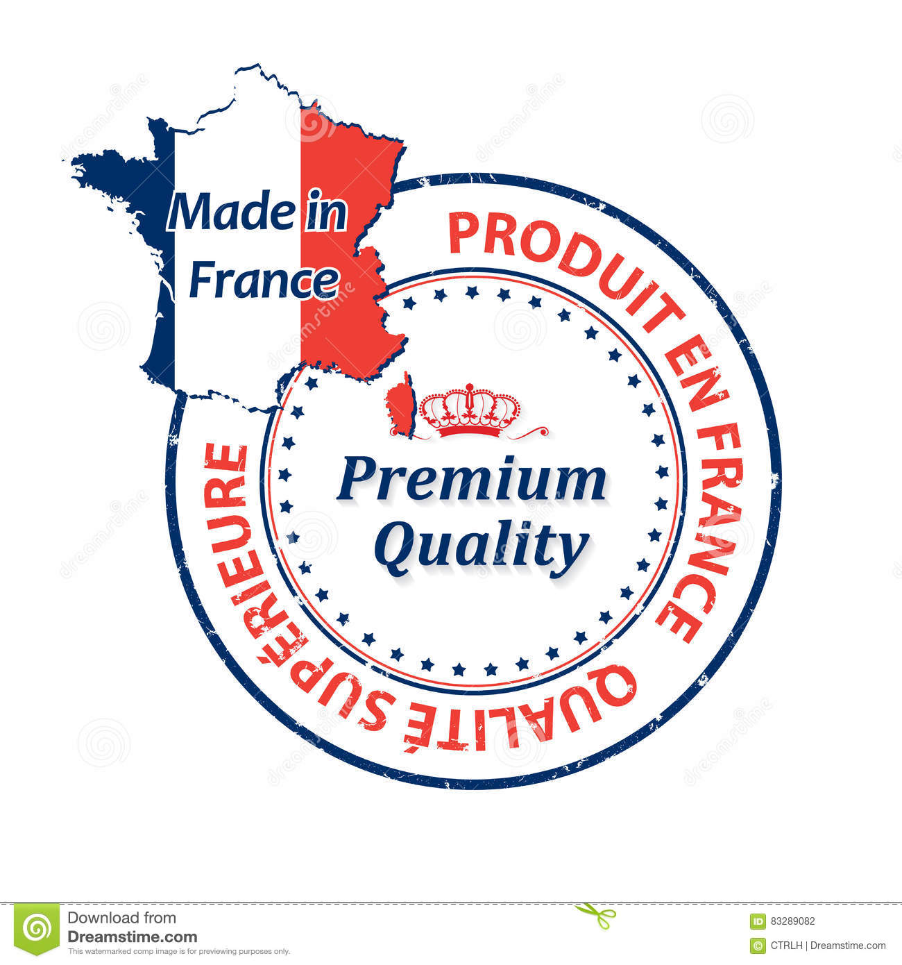 Map Of France In French Language.Made In France Premium Quality French Language Stock Illustration