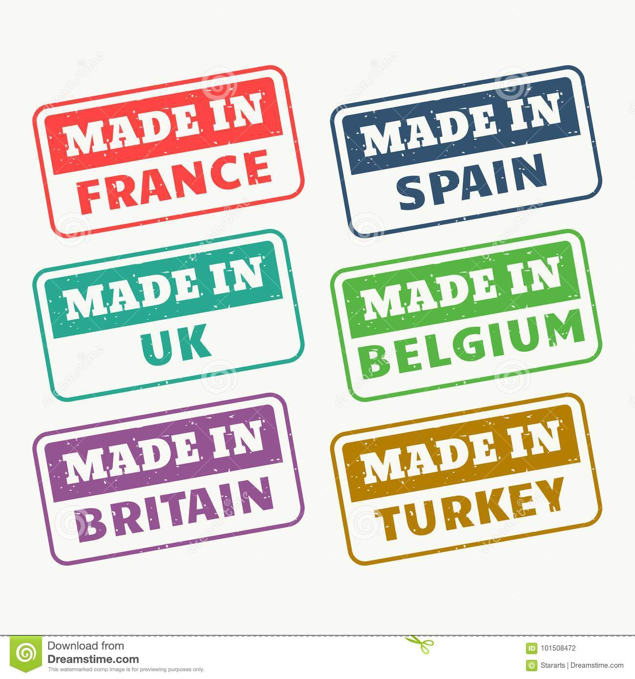 Made in france, spain, uk, belgium, britain and turky stamps set