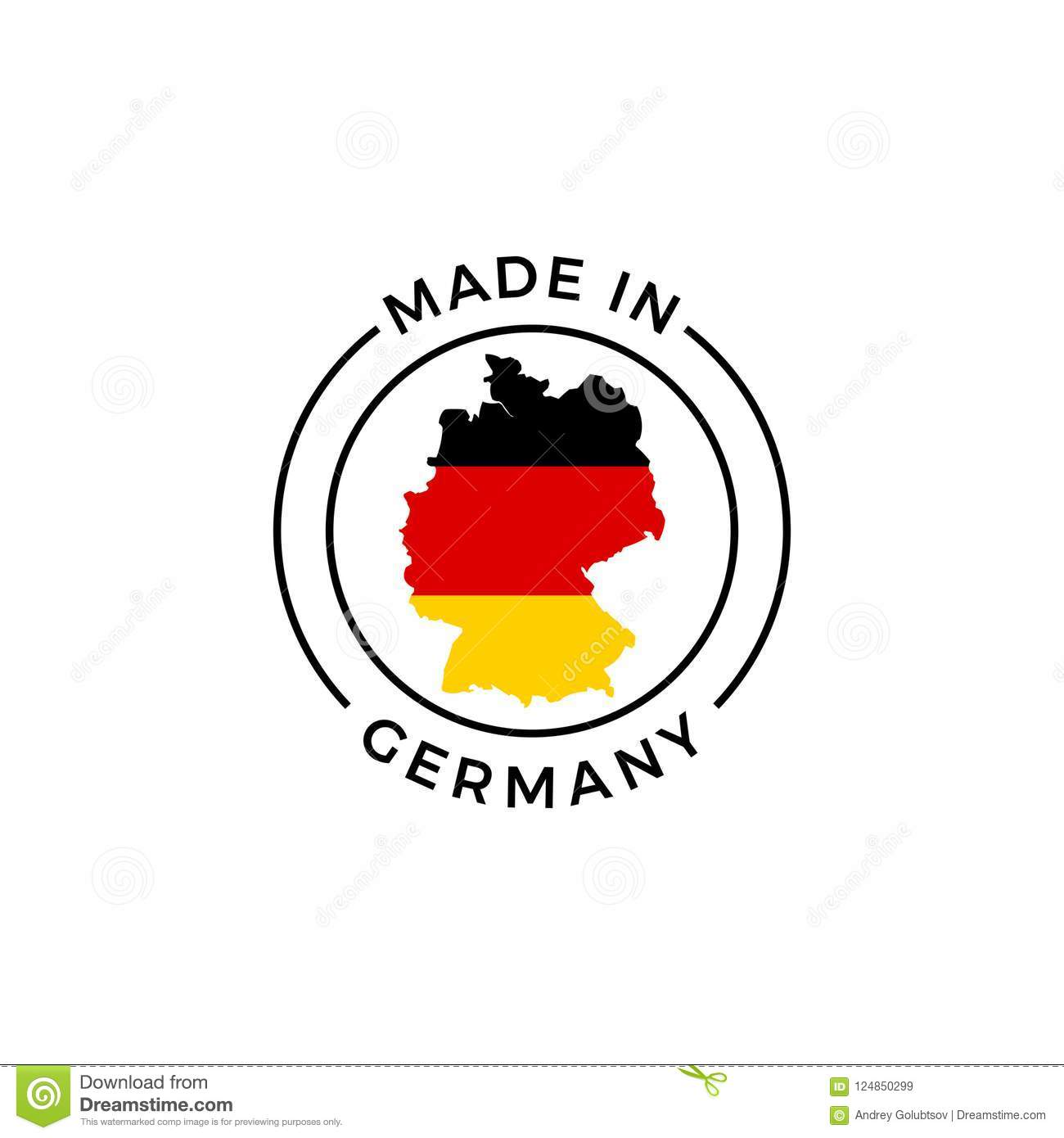 Made In Germany Label Icon Of German Flag Map Stock Vector