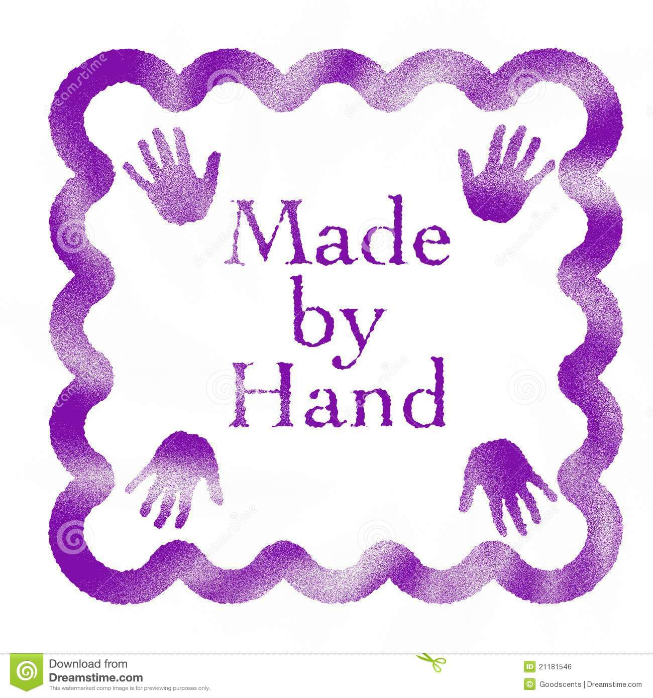 Made by a Hand rubber stamp
