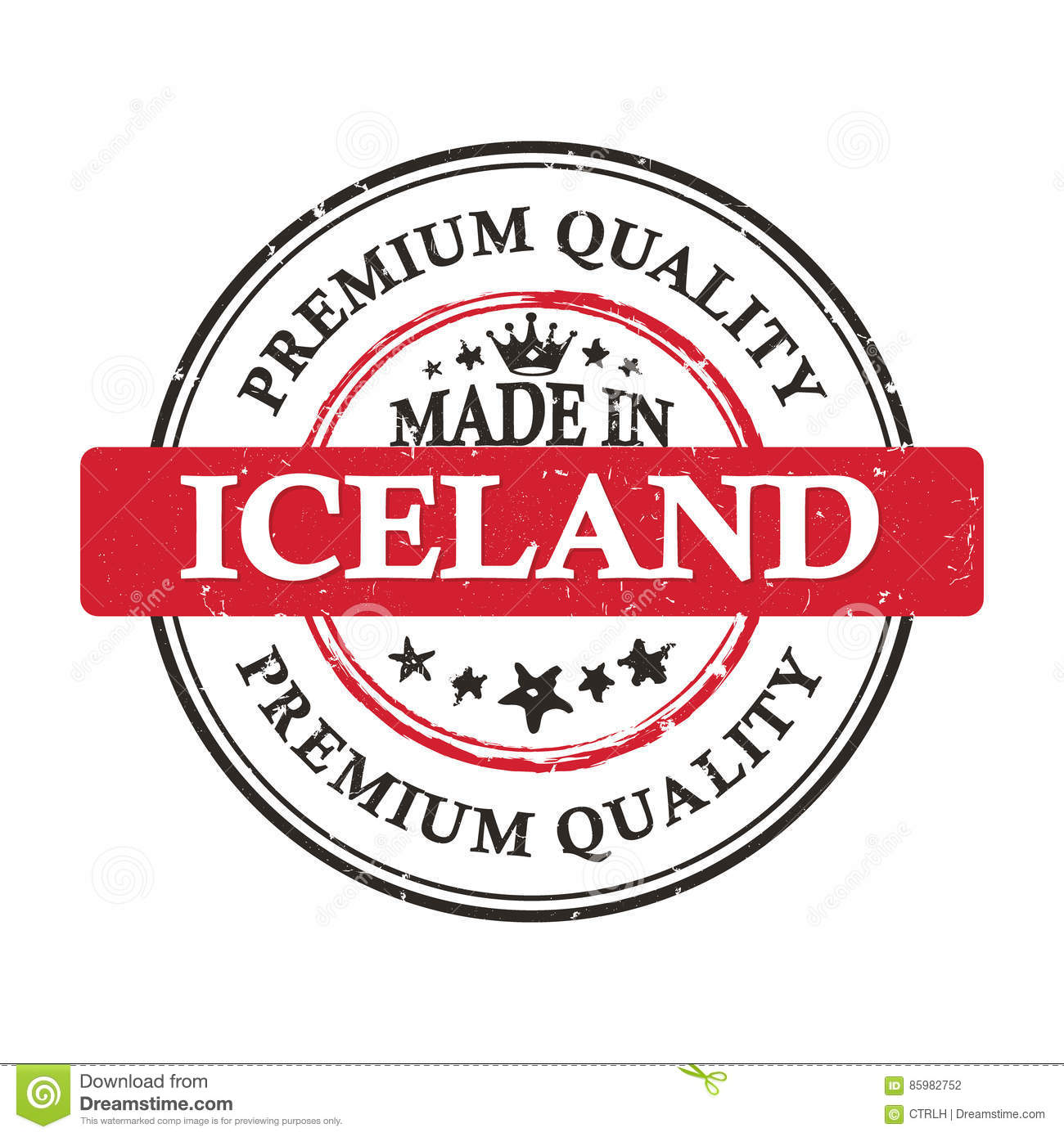 made in iceland premium quality grunge printable label