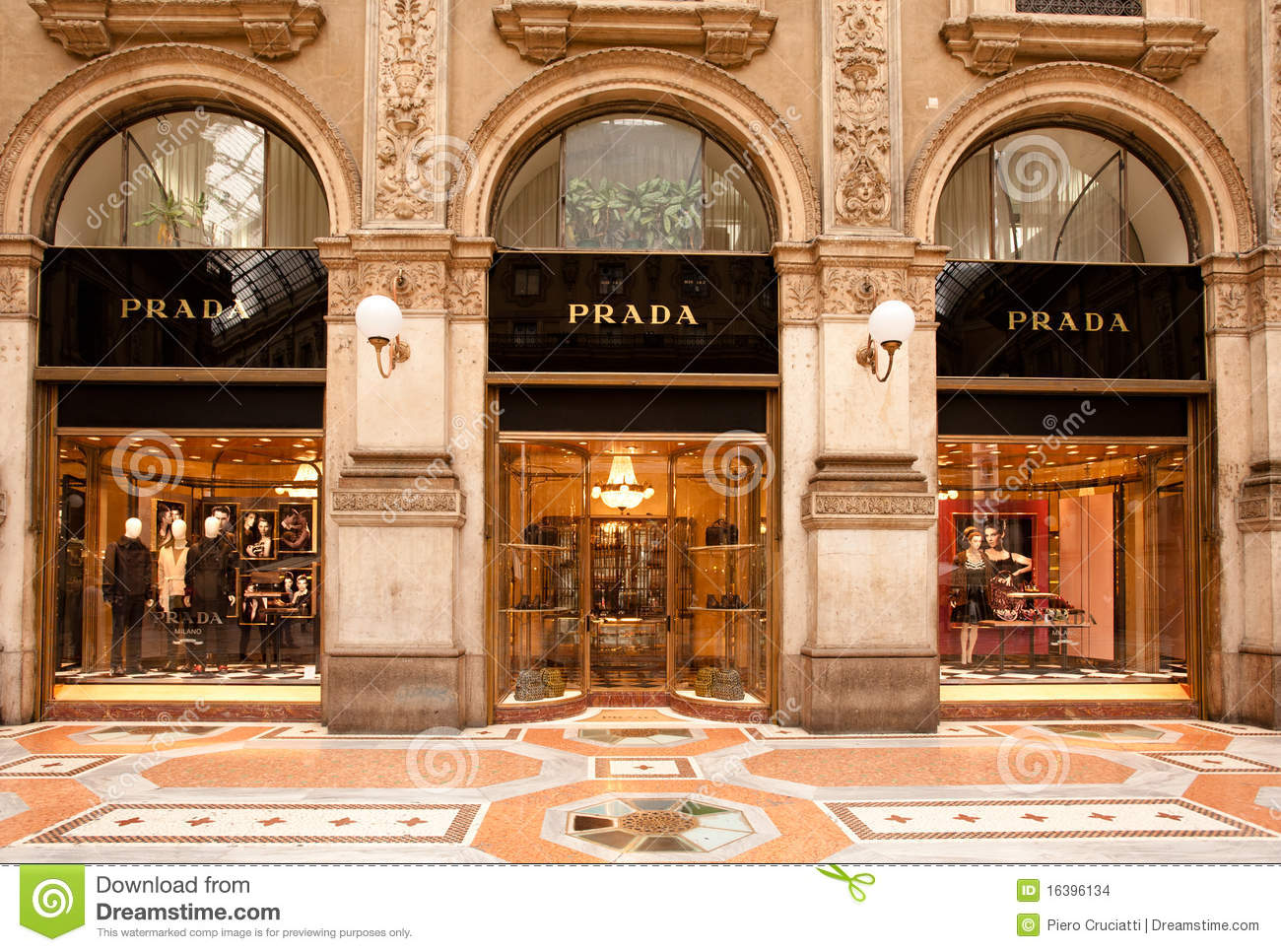 made in italy prada boutique in milan editorial stock image image 16396134. Black Bedroom Furniture Sets. Home Design Ideas