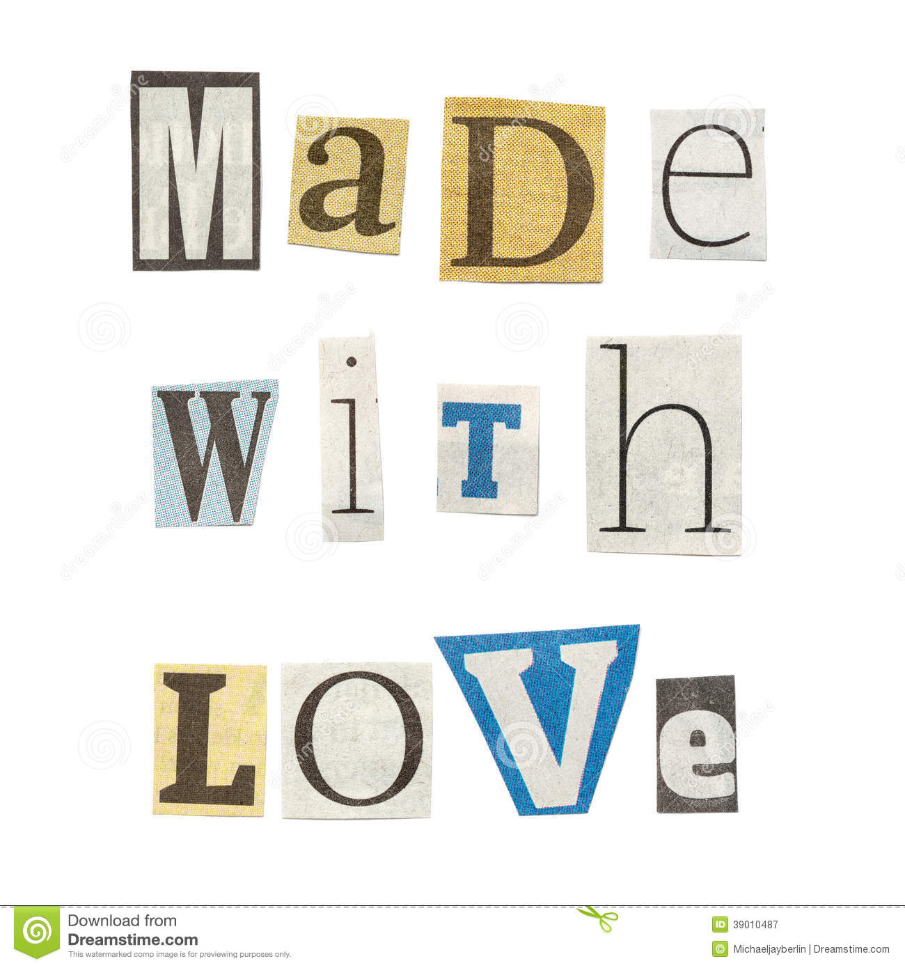 made with love cutout newspaper letters royalty free stock photography