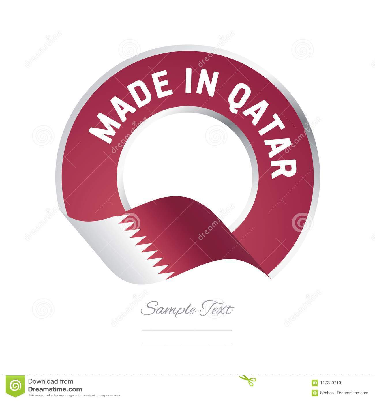 Made In Qatar Flag Red Color Label Button Banner Stock