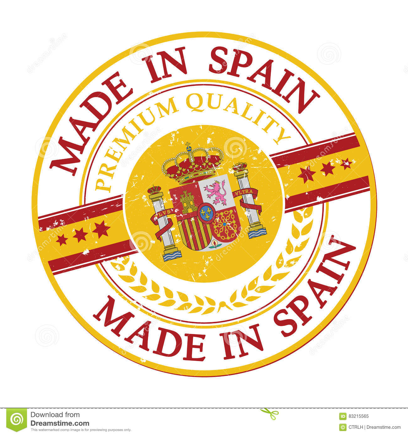 graphic regarding Printable Spanish Flag identified as Produced In just Spain Grunge Printable Label. Inventory Case in point
