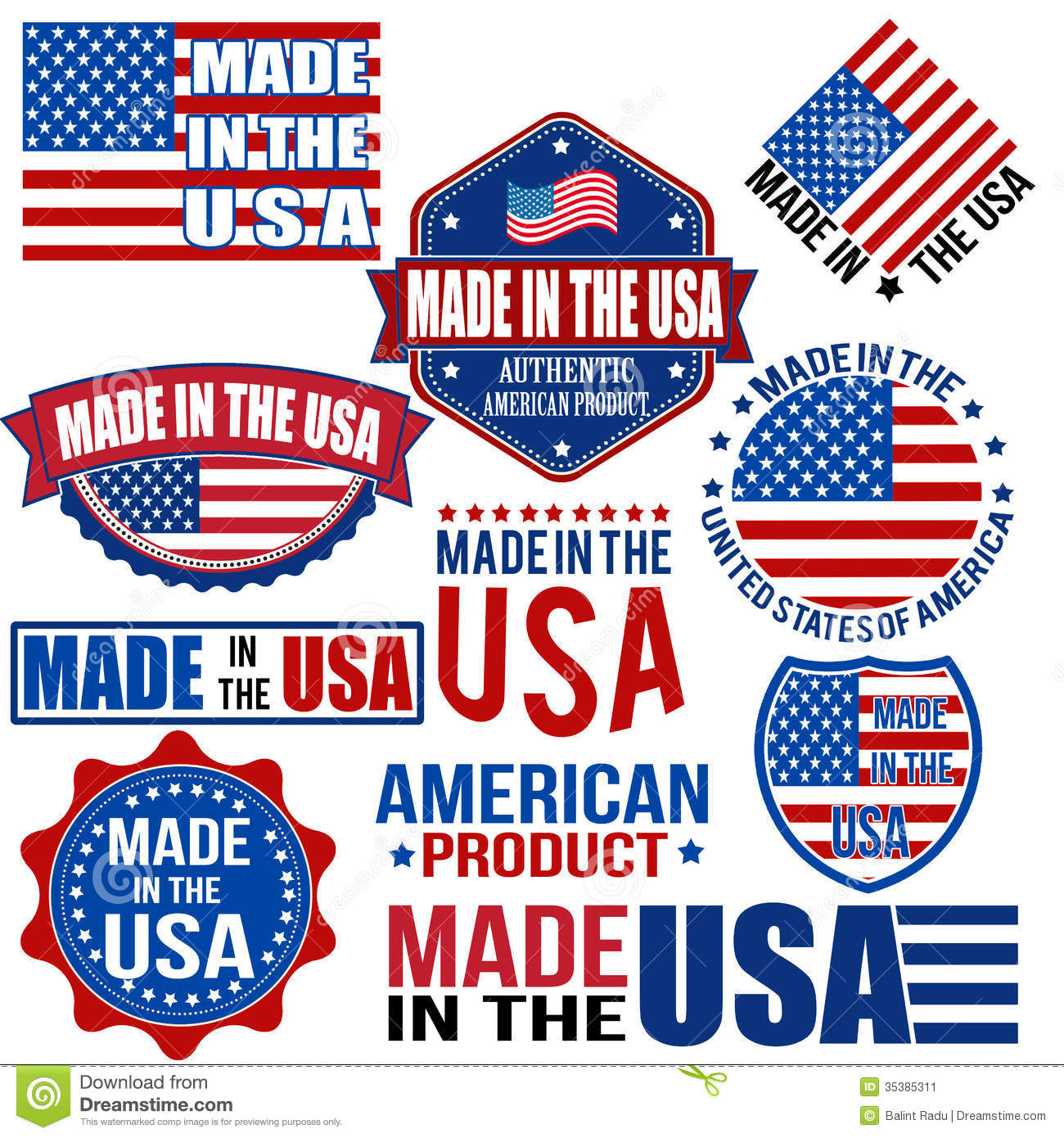made in the usa graphics and labels stock image image 35385311. Black Bedroom Furniture Sets. Home Design Ideas