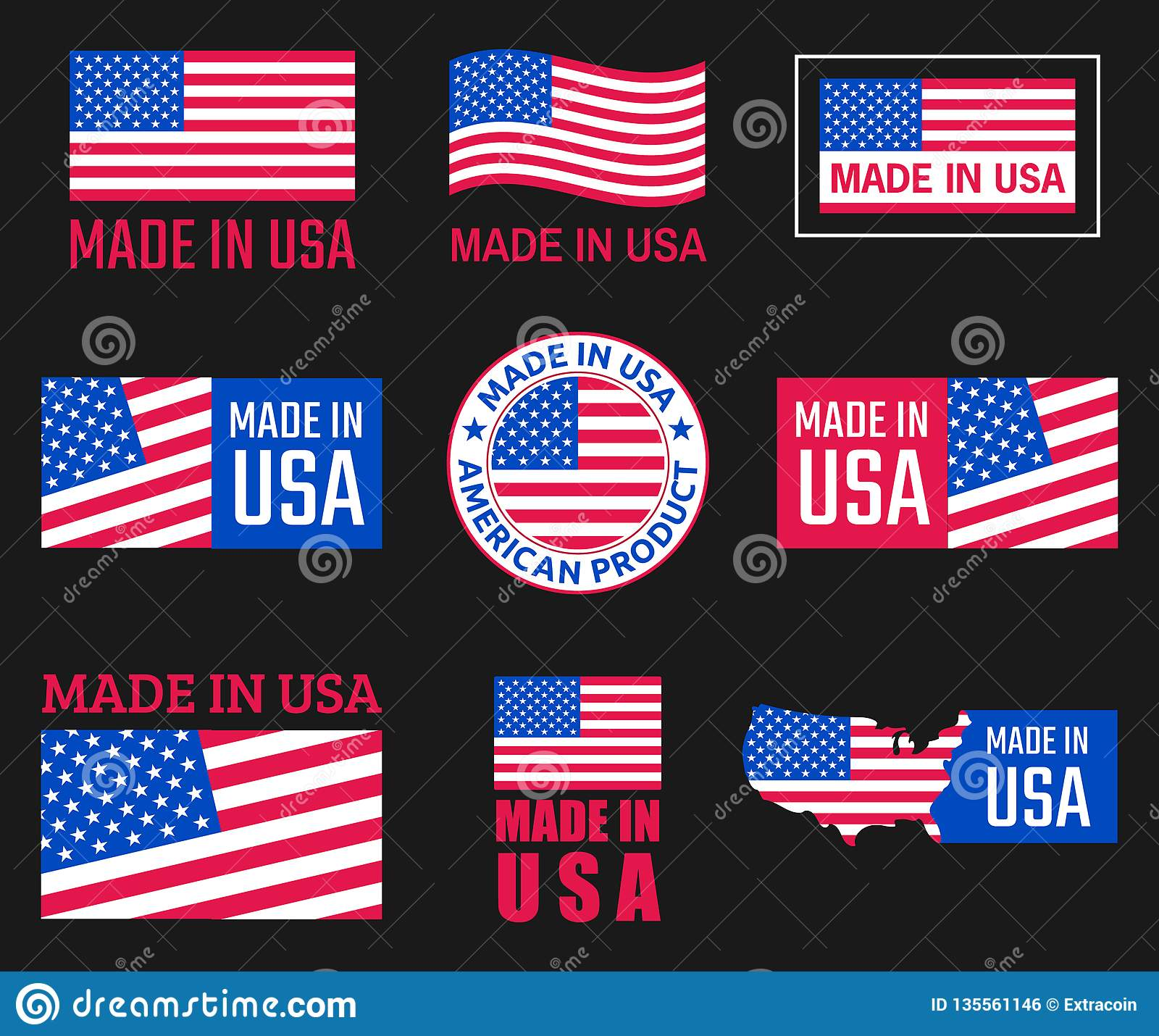 Made In Usa Icon Set, American Product Labels Stock Vector