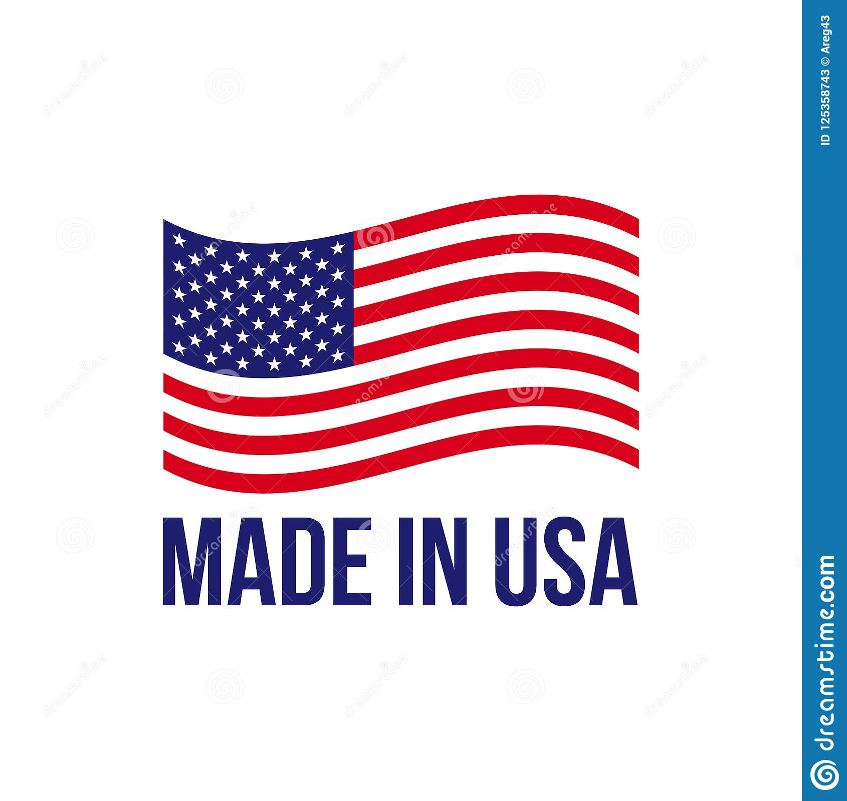 Made In Usa Icon Vector American Flag Stock Vector