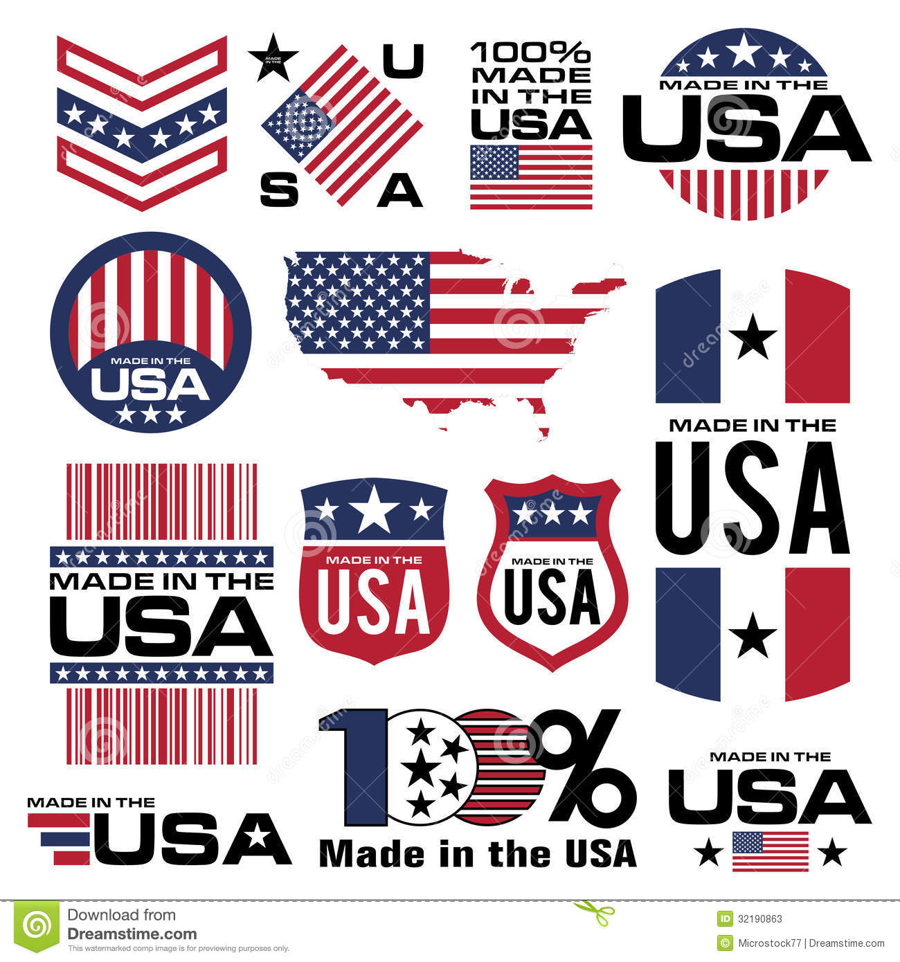 Made in the usa stock vector illustration of america 32190863 made in the usa buycottarizona