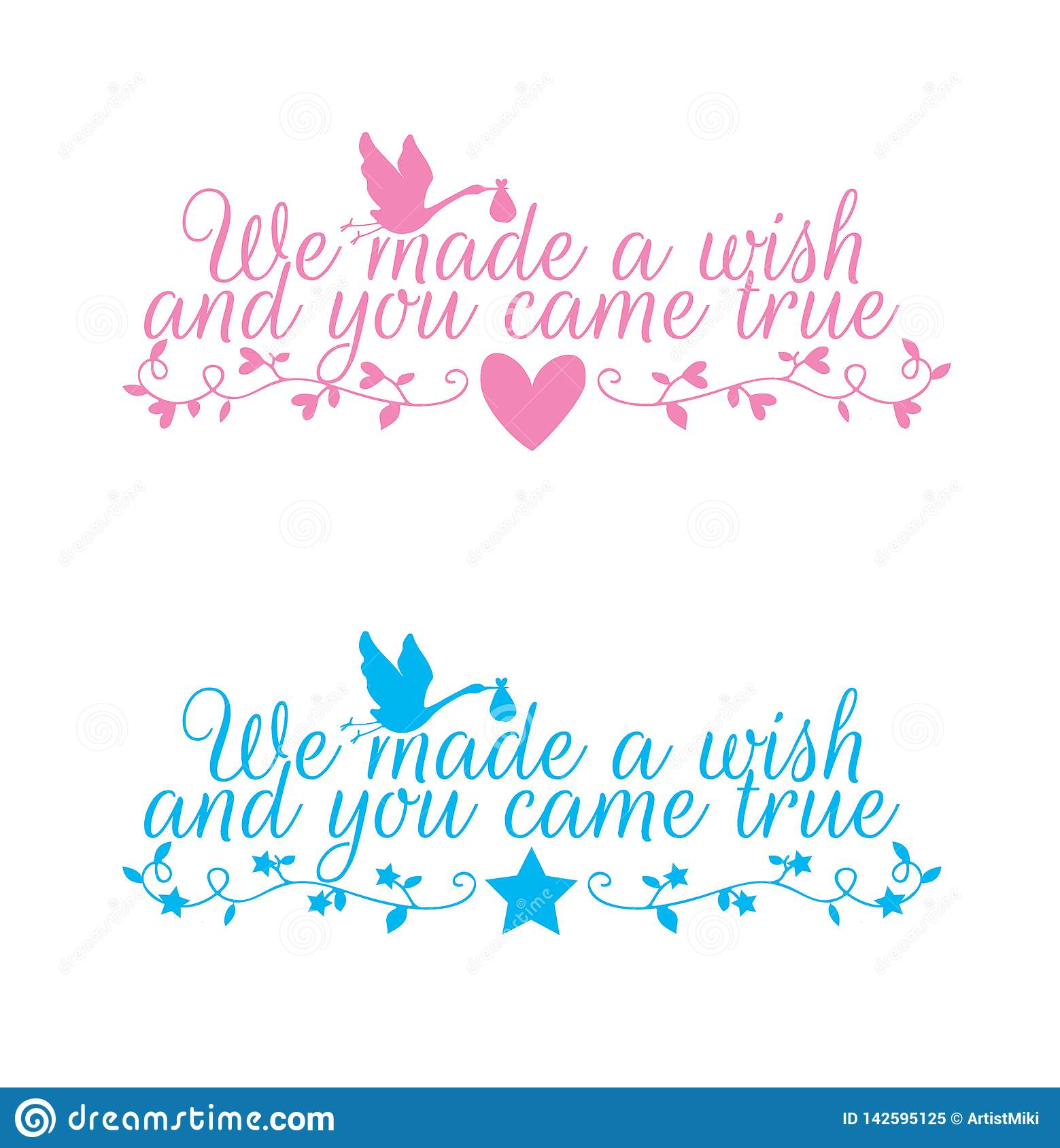 Kids Wall Decals Vector, We made a wish and you came true, Wording Design