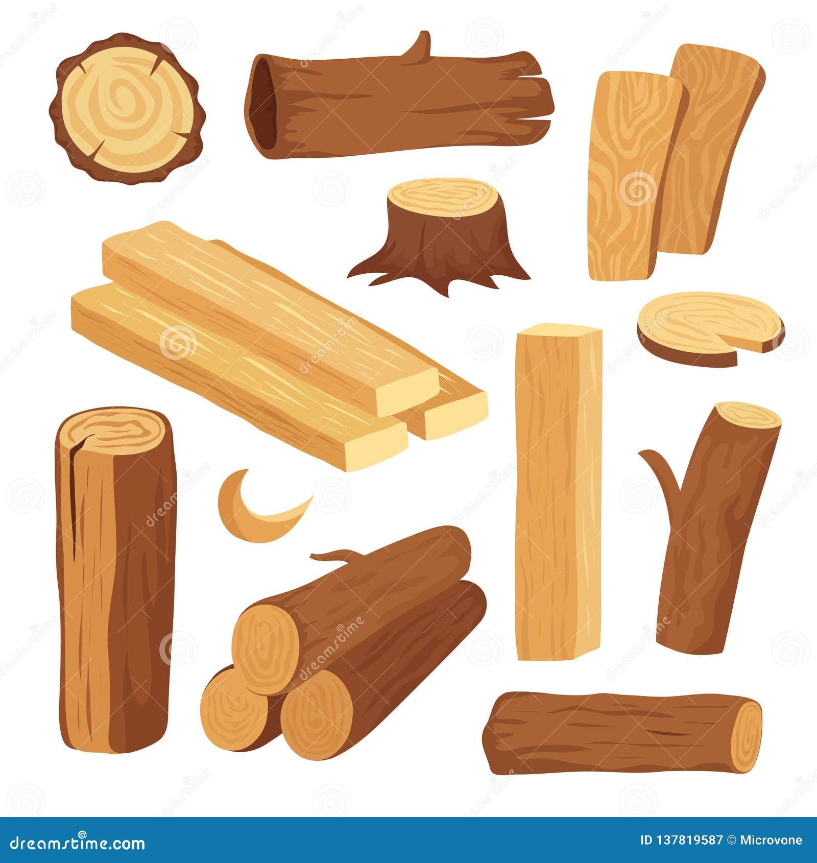 Madeira dos desenhos animados Log e tronco de madeira, coto e prancha Logs de madeira da lenha Vetor dos materiais de construção