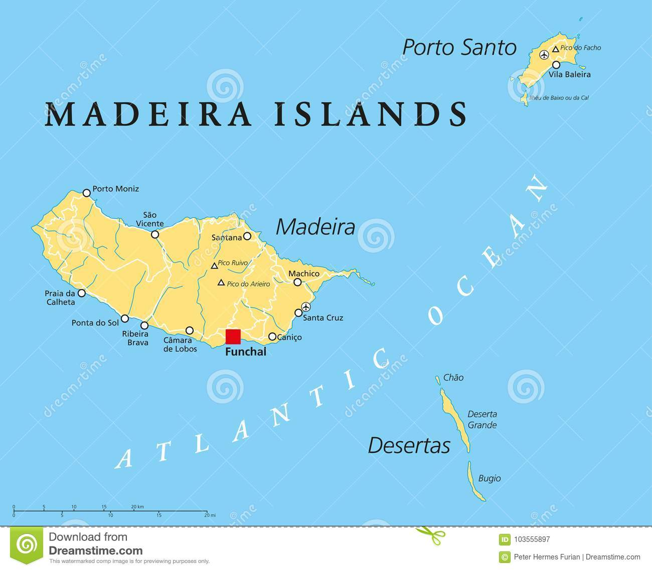 Madeira Islands Political Map Stock Vector - Illustration of ...