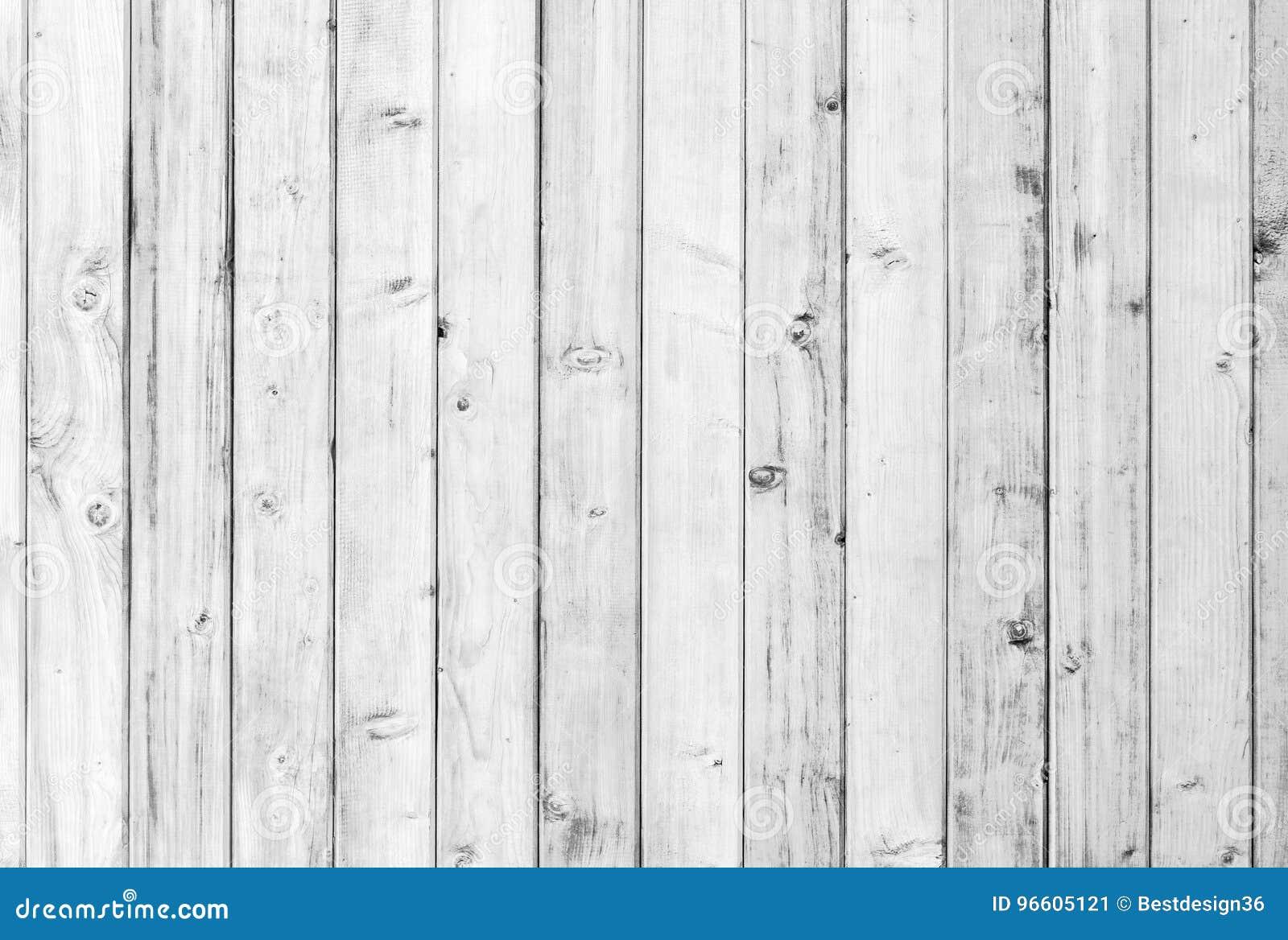 Madeira velha branca ou teste padrão decorativo de madeira do fundo de superfície do assoalho ou da parede da prancha do vintage