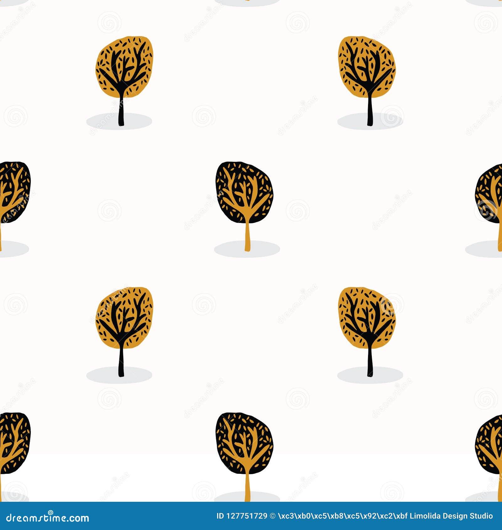 Madera estilizada del árbol que repite el modelo inconsútil, estilo dibujado mano del vintage