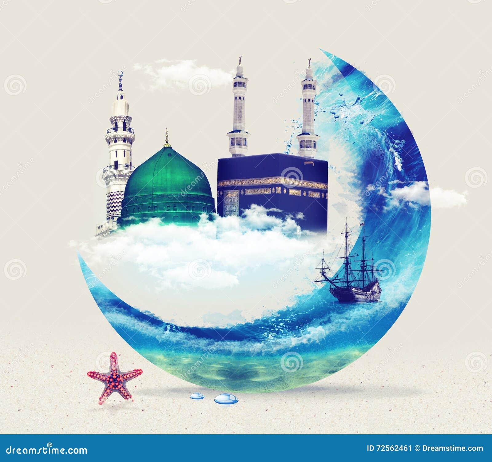 Madina麦加kaba -沙特阿拉伯先知穆罕默德设计Green Dome