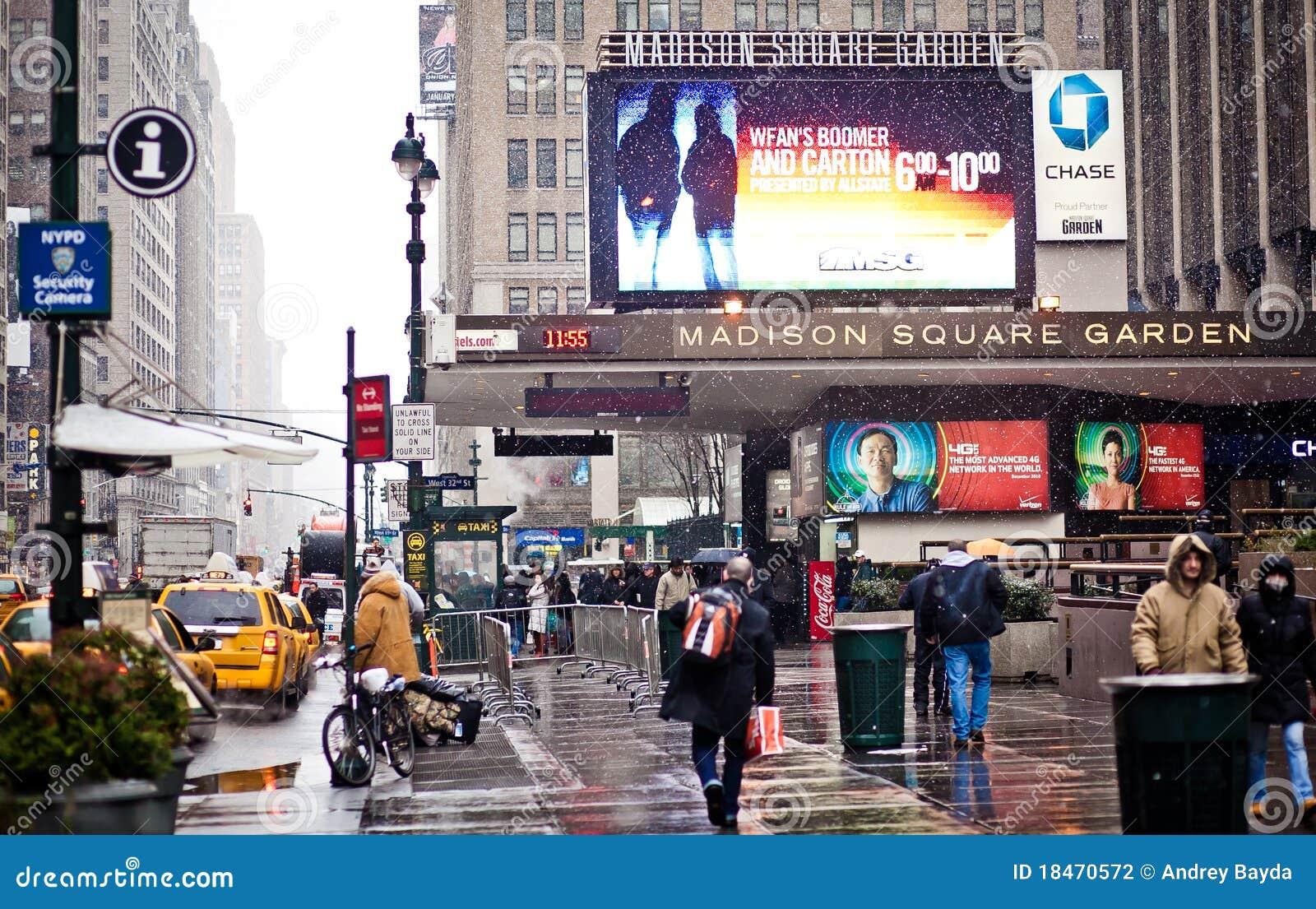 Madison Square Garden Im Blizzard Redaktionelles Stockfotografie Bild 18470572