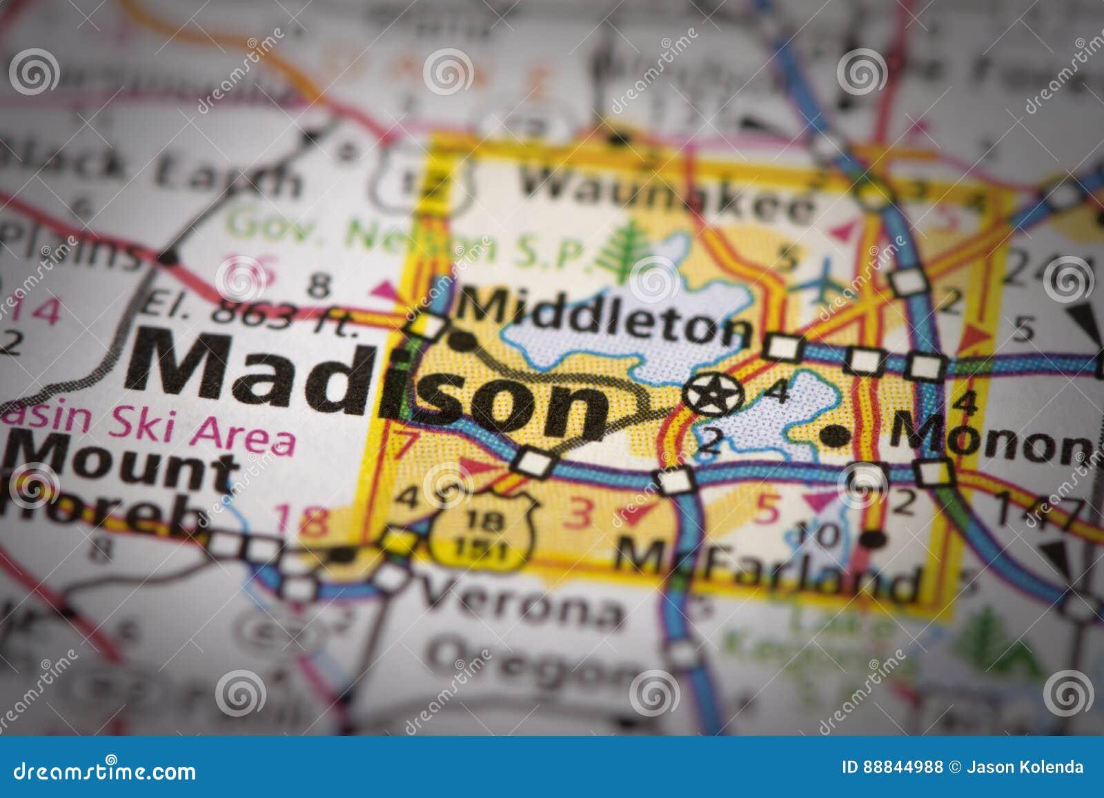 Madison, Wisconsin on map