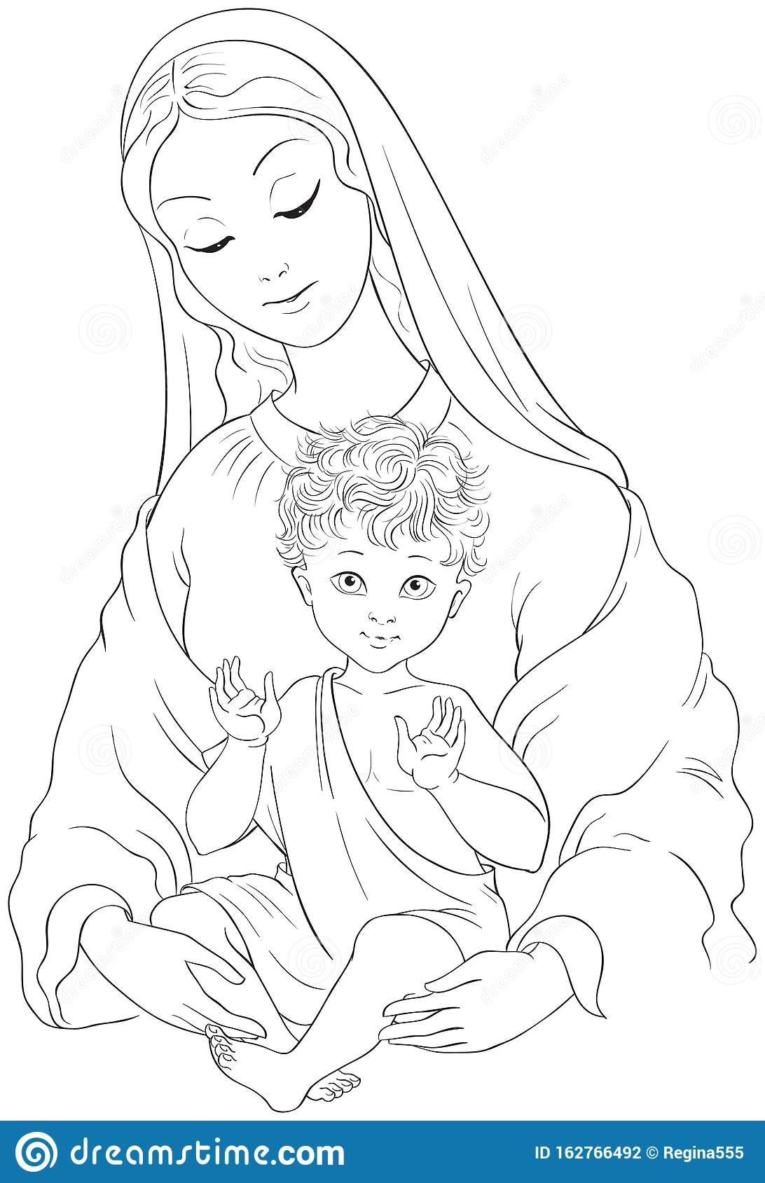 Mary and Baby Jesus coloring page | Free Printable Coloring Pages | 1689x1092