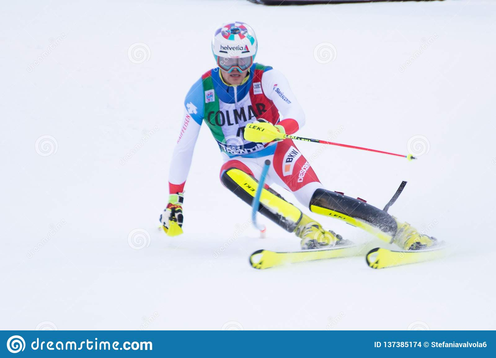 Madonna di Campiglio, Italy 12/22/2018. 3rd men`s slalom. Daniel Yule of Switzerland during the special slalom of ski world cup.