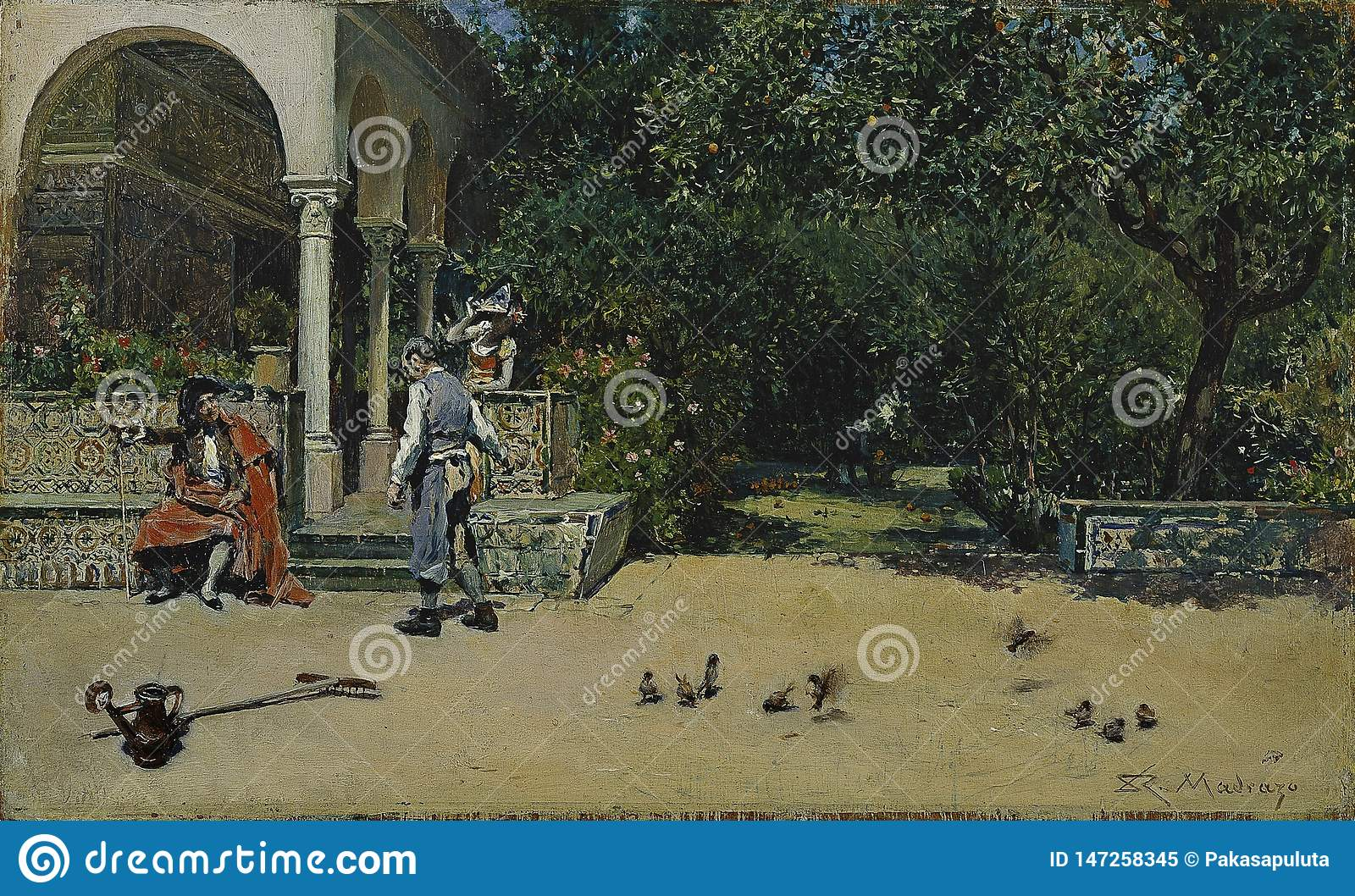 Madrazo y Garreta, Raimundo de - pawilon Carlos V w ogródach Alcazar Seville, 1868