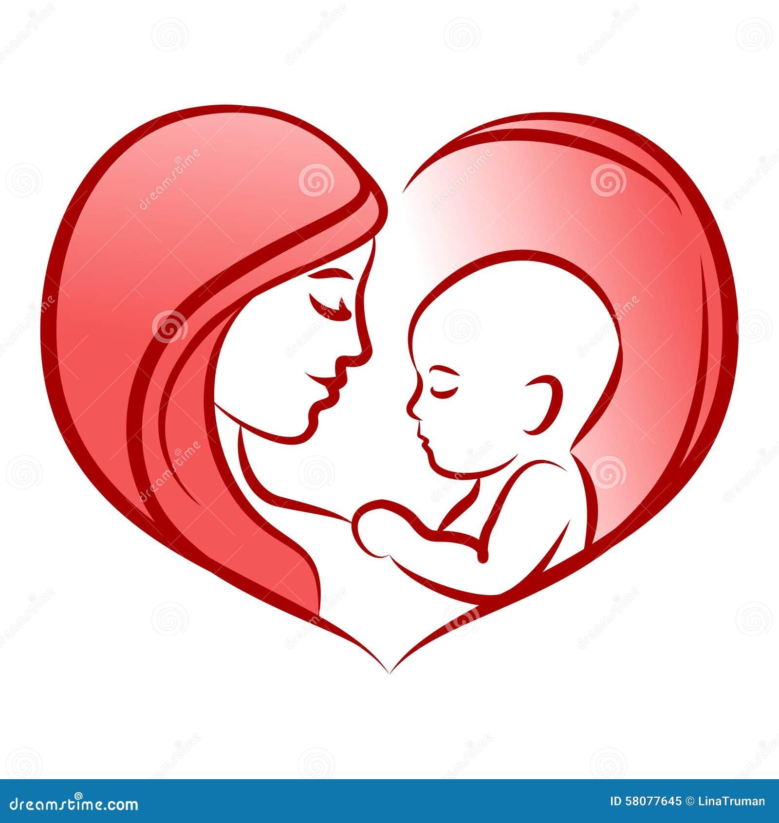 Madre con su bebé, corazón, silueta del vector del esquema