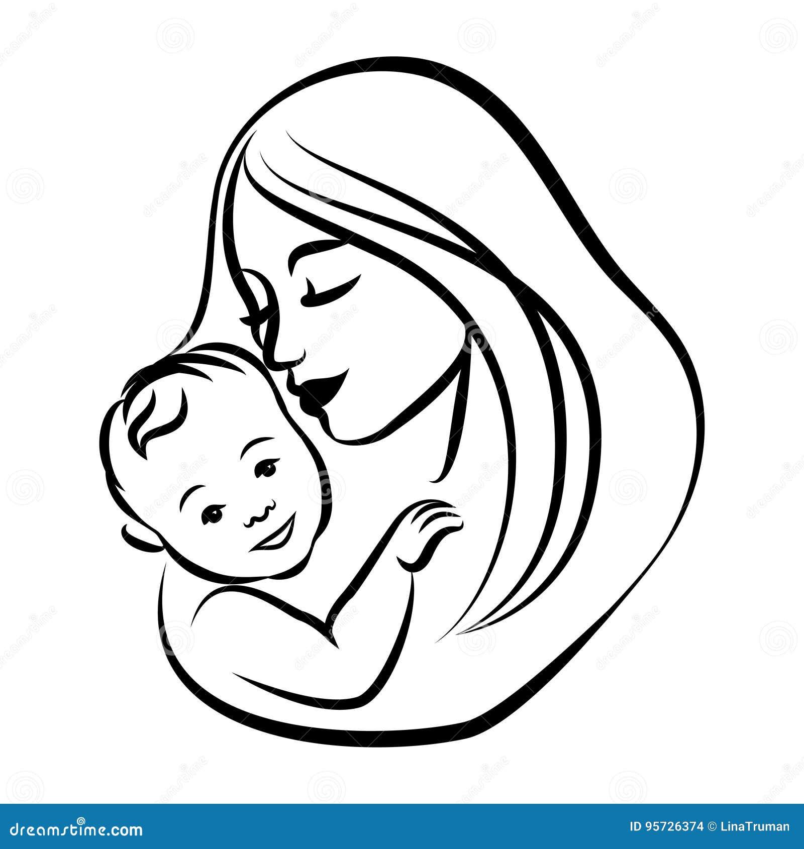 Madre con su bebé Símbolo estilizado del esquema Maternidad, amor