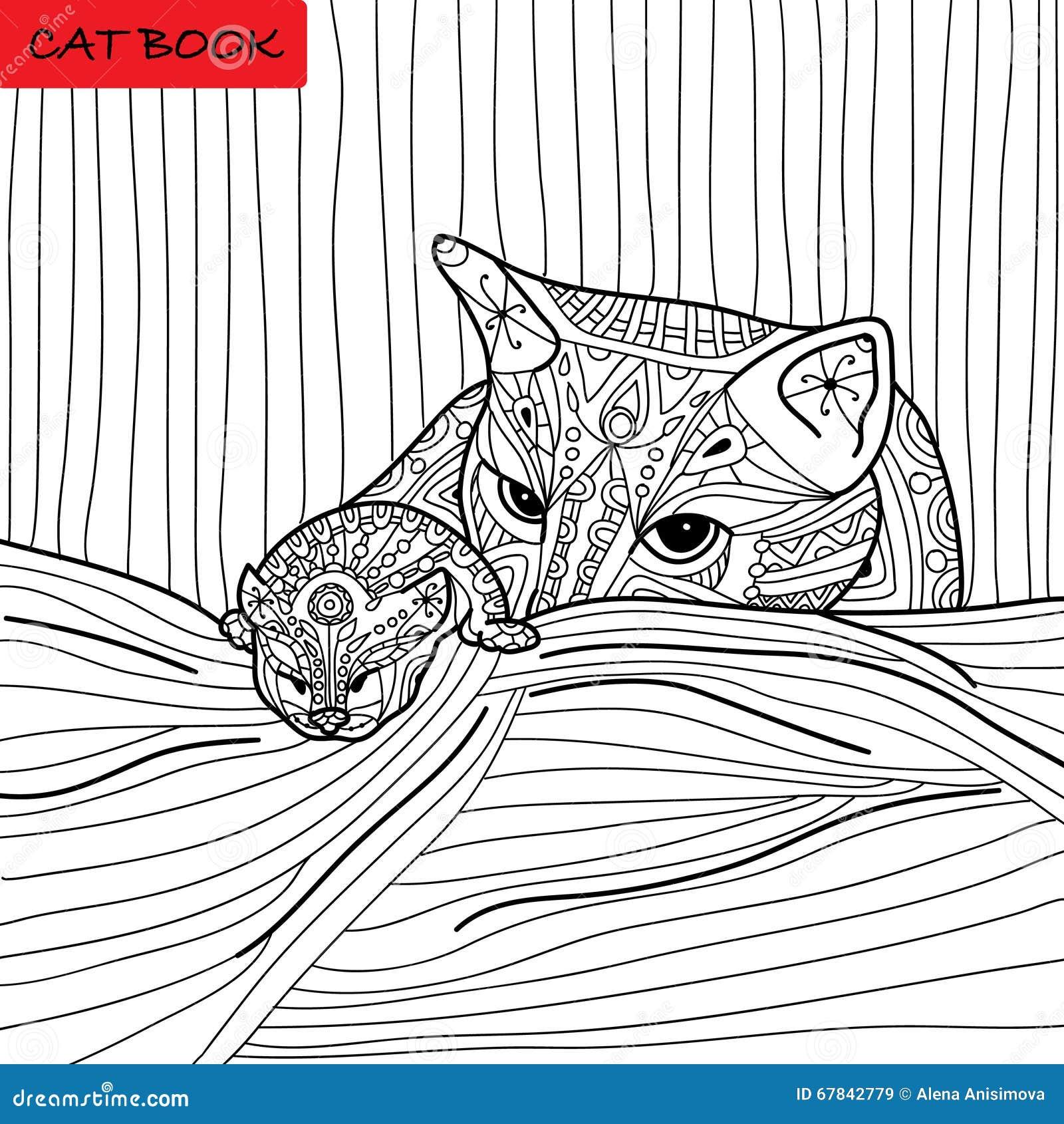 Madre Del Gatto Ed Il Suo Gattino Libro Da Colorare Per Gli
