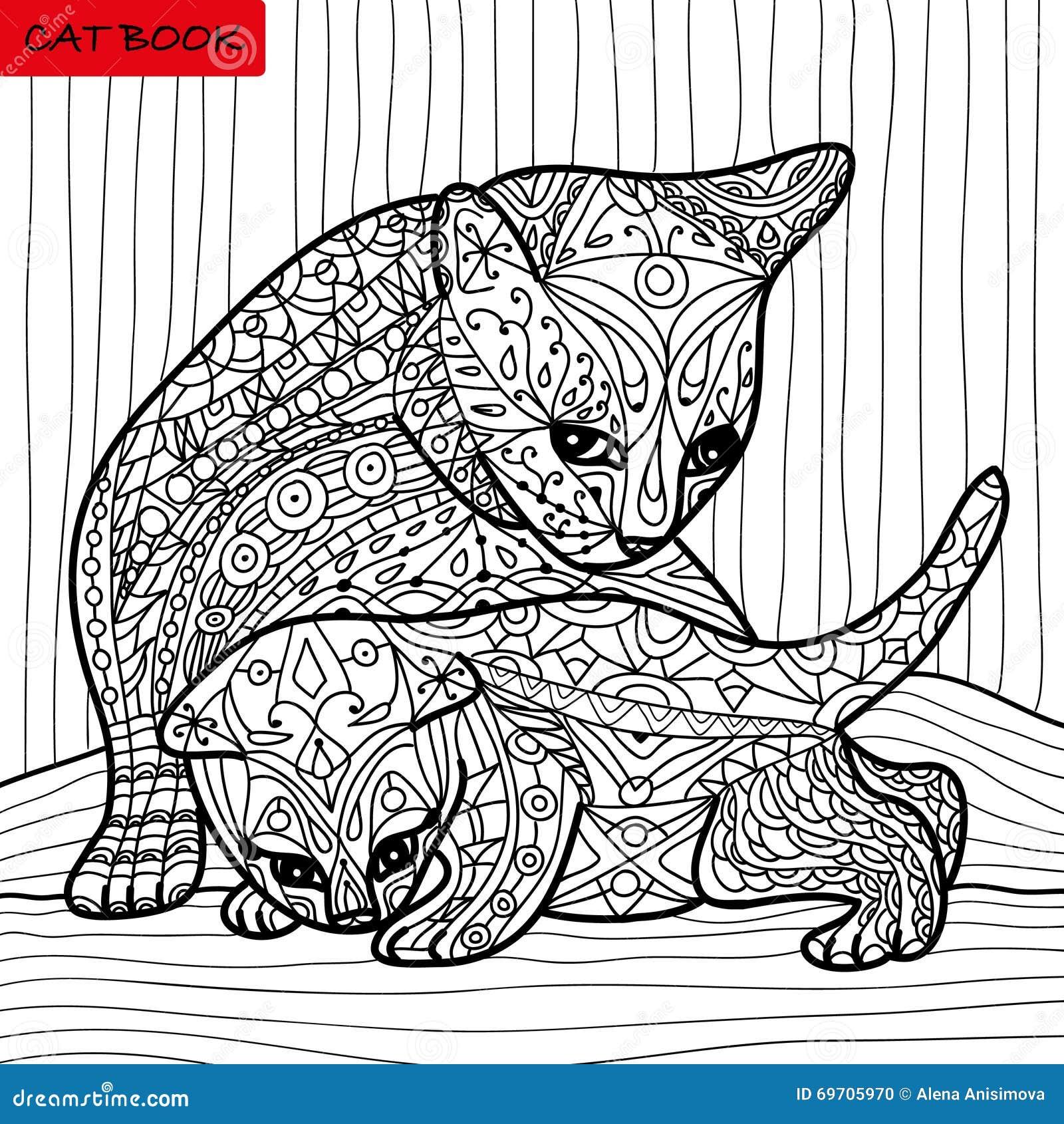 Madre del gatto ed il suo gattino libro da colorare per - Libro da colorare elefante libro ...
