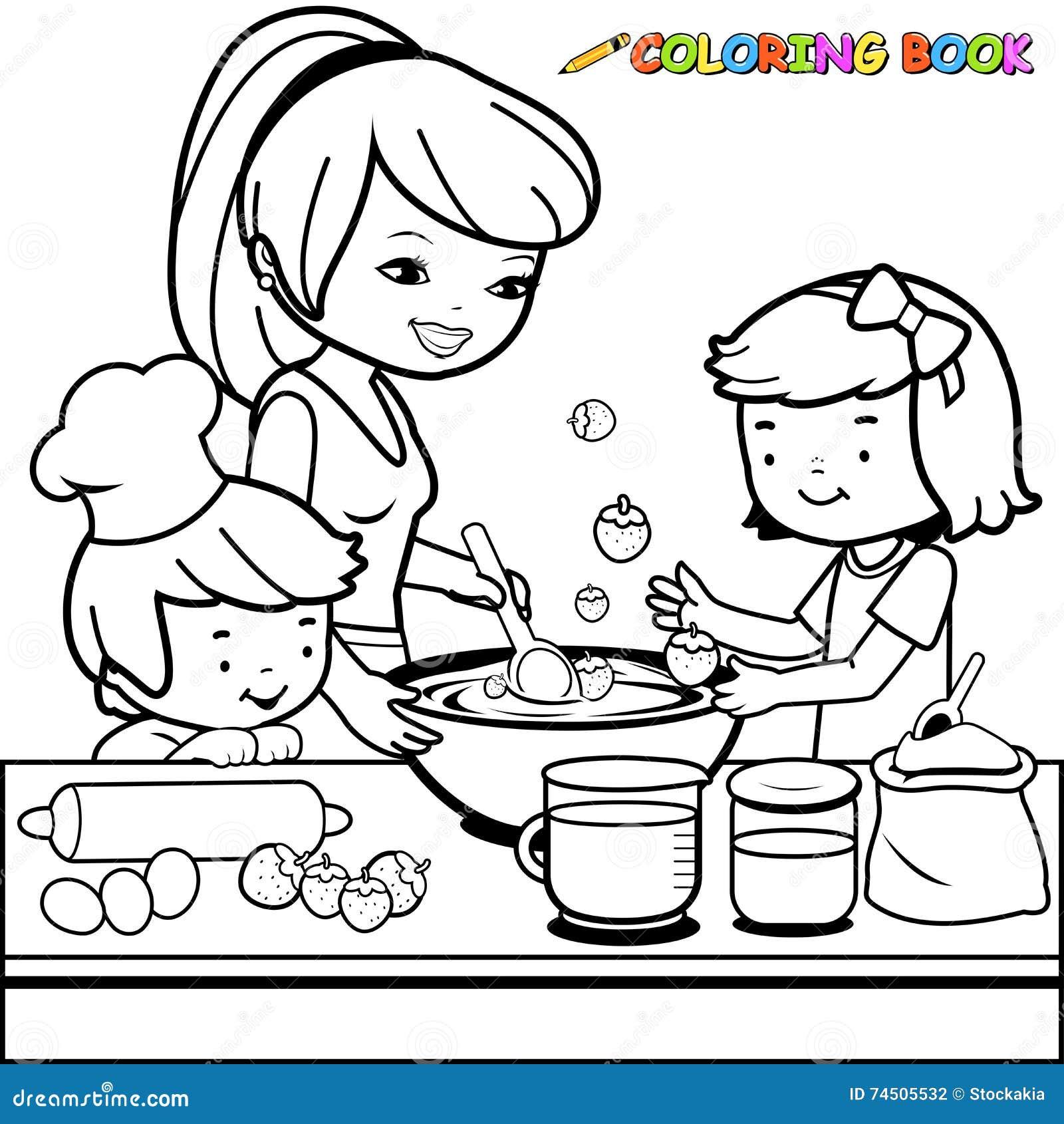 Madre e bambini che cucinano nella pagina del libro da - Lederhosen pagina da colorare ...