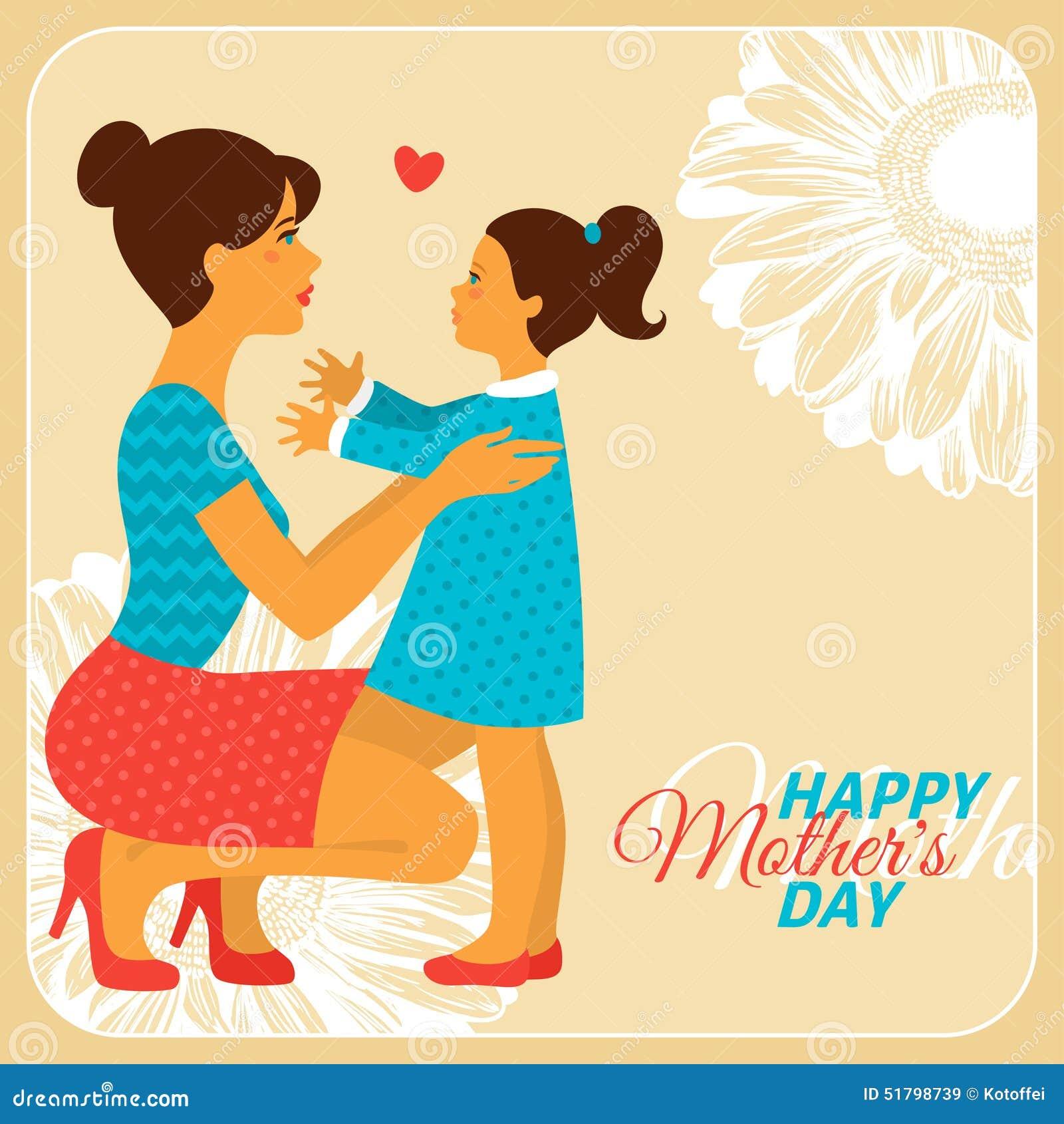 Madre E Hija Con Dia De Madres Feliz Ilustracion Del Vector