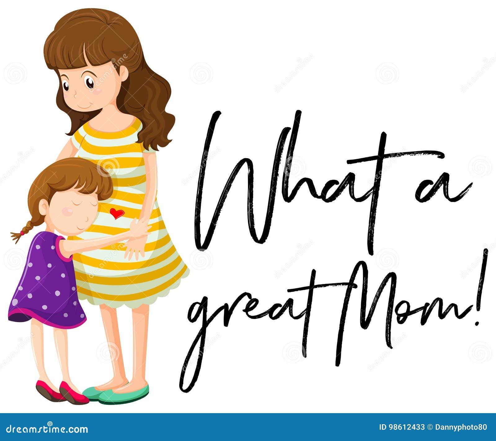 Madre E Hija Con Frase Una Qué Gran Mamá Ilustración Del Vector