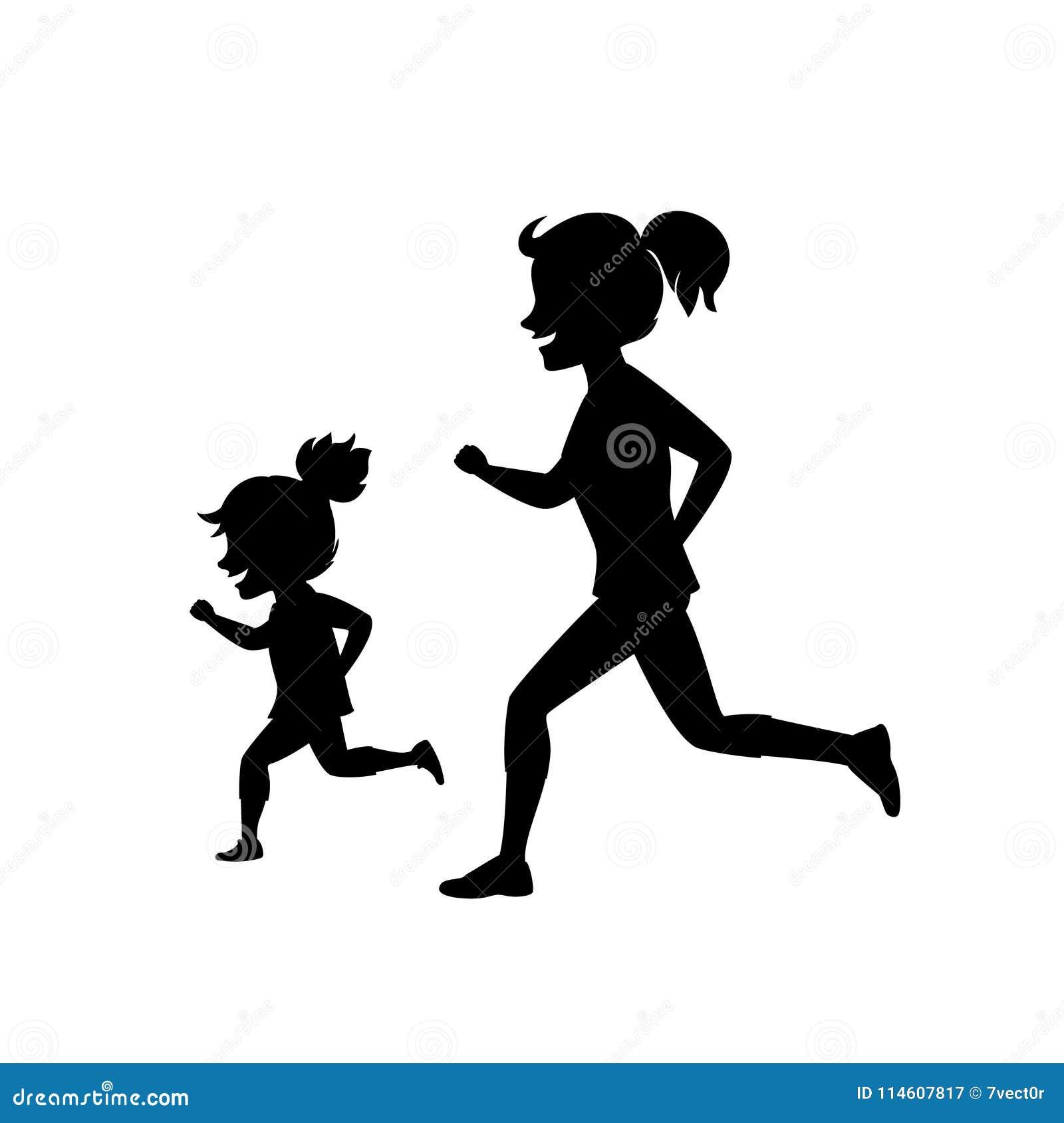 Madre E Hija Que Corren Activando Junto Escena De La Silueta Del