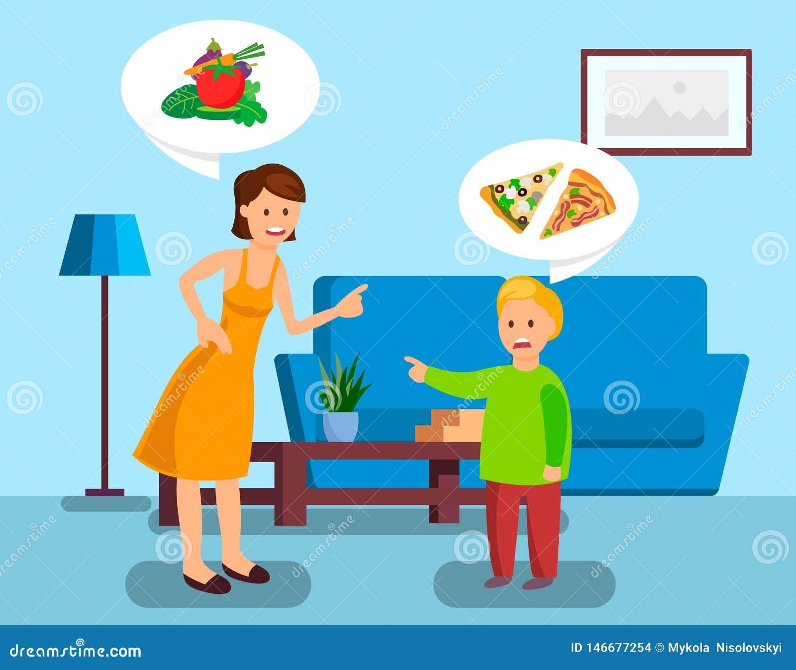 Madre e hijo que discuten el ejemplo del vector del color