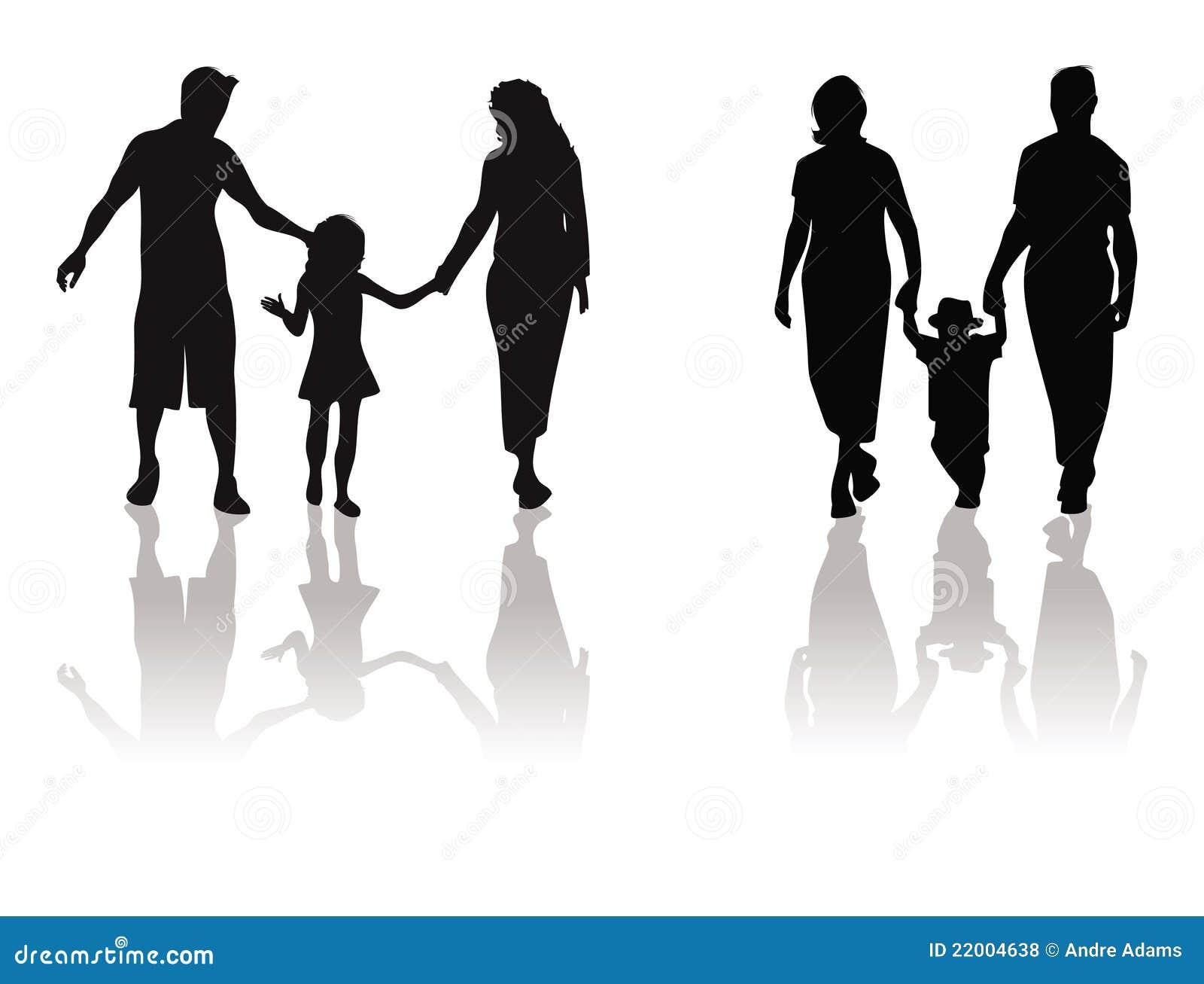 Madre, padre, silueta del niño
