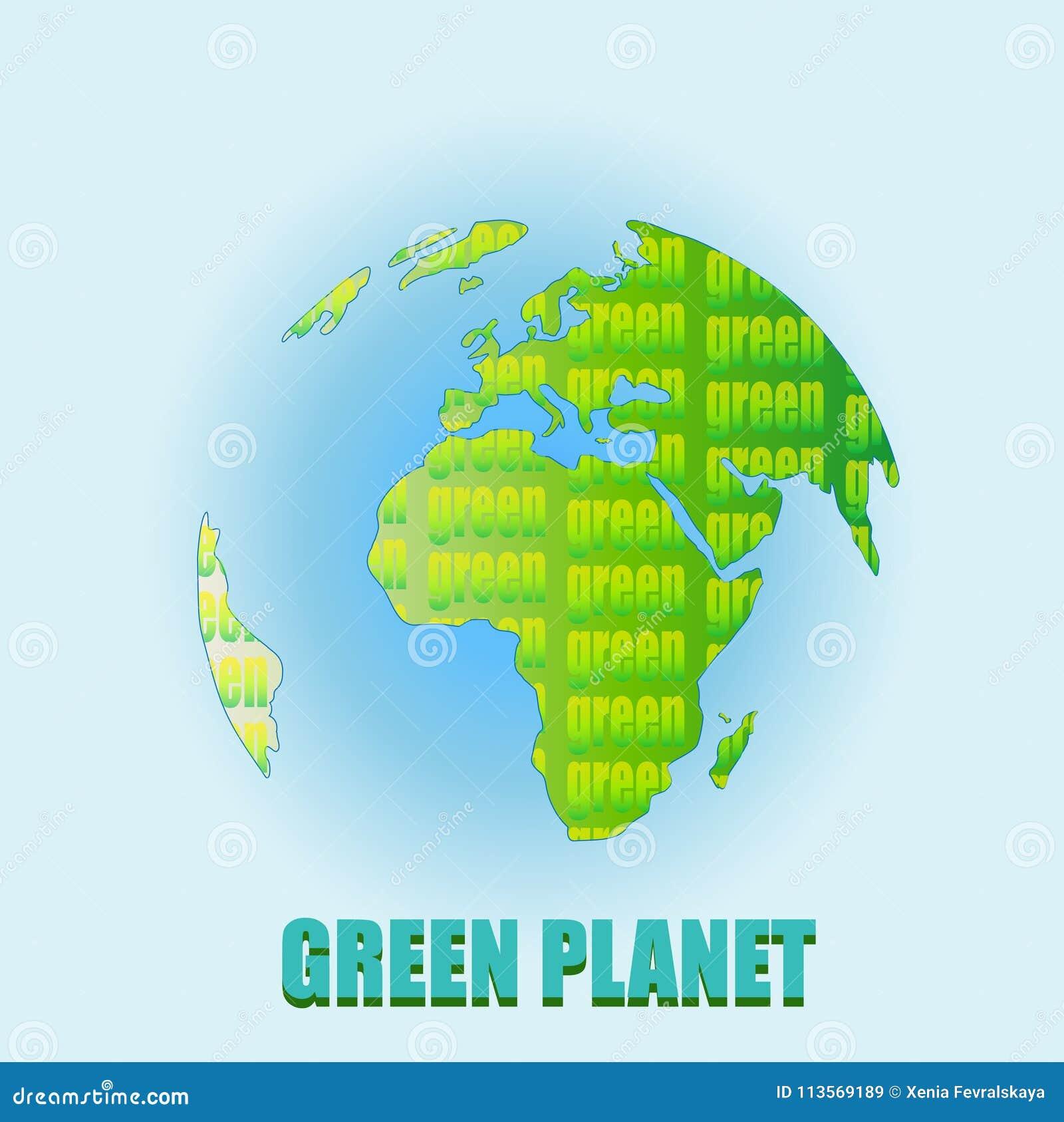 Madre tierra verde o planeta verde