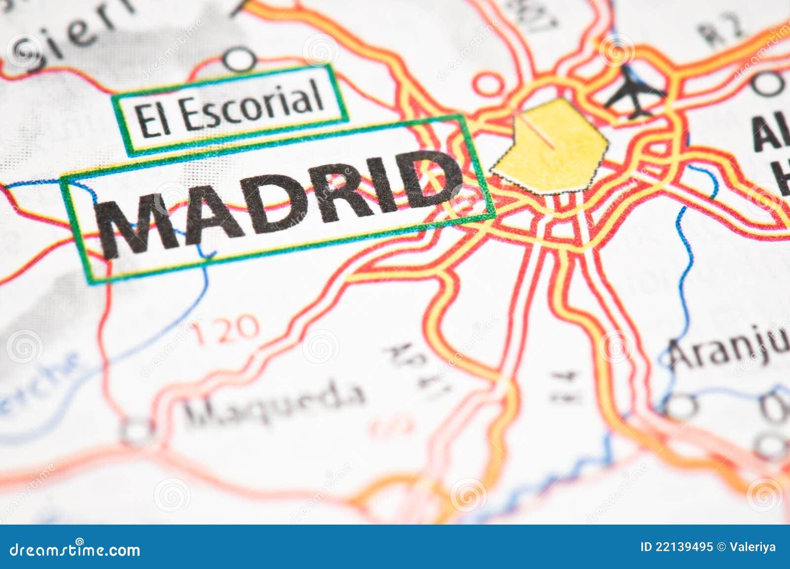 Madrid Auf Einer Karte Stockbild Bild Von Makro Hintergrund