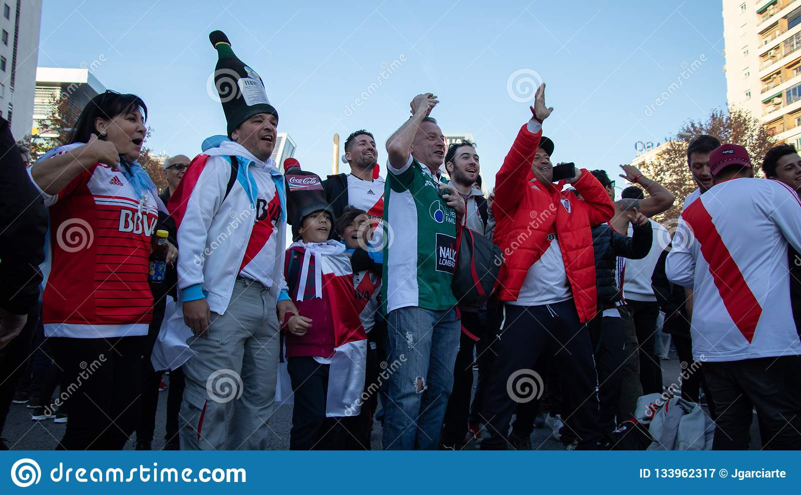 MADRID, DECEMBER 09 - Young and old supporters of River Plate before entering the final of the Copa Libertadores at the Bernabéu