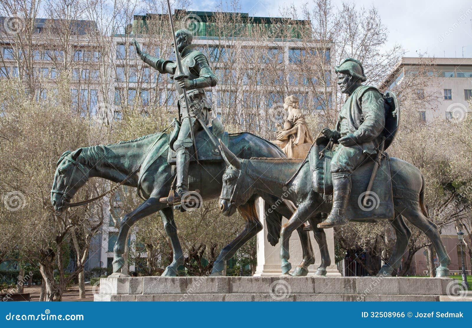 Madrid - Don Quixote And Sancho Panza Statue From Cervantes Memorial