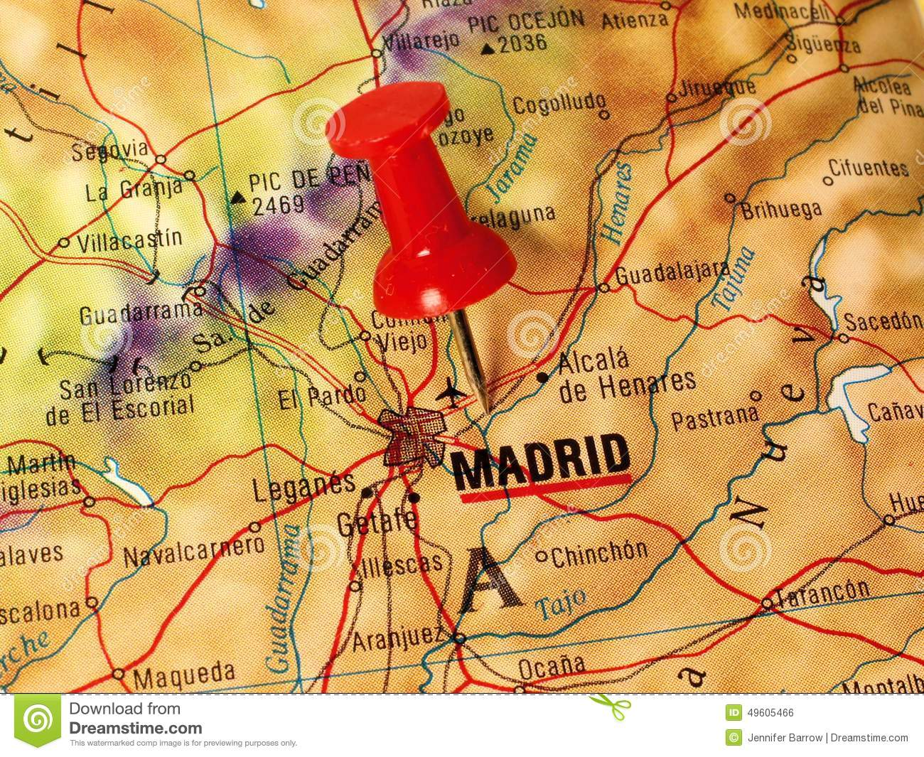 Madrid on a map stock photo. Image of travel, direction - 49605466