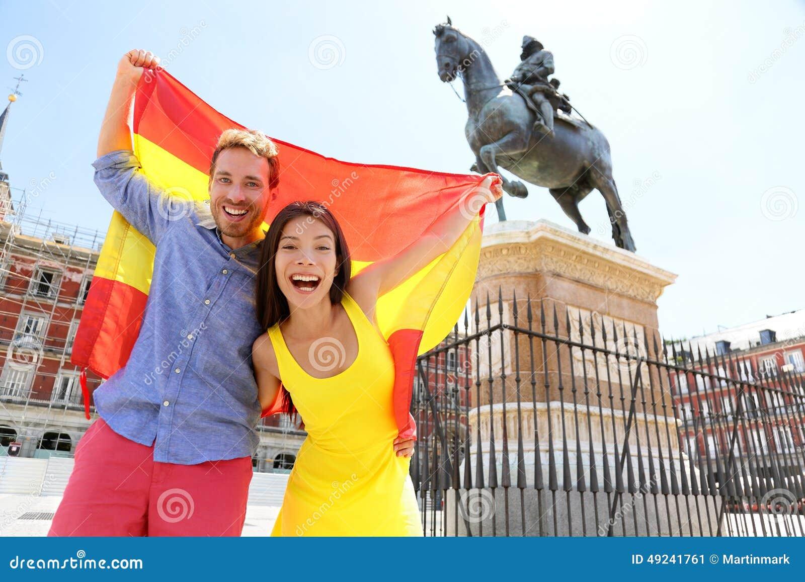Madrid People Showing Spain Flag On Plaza Mayor Stock